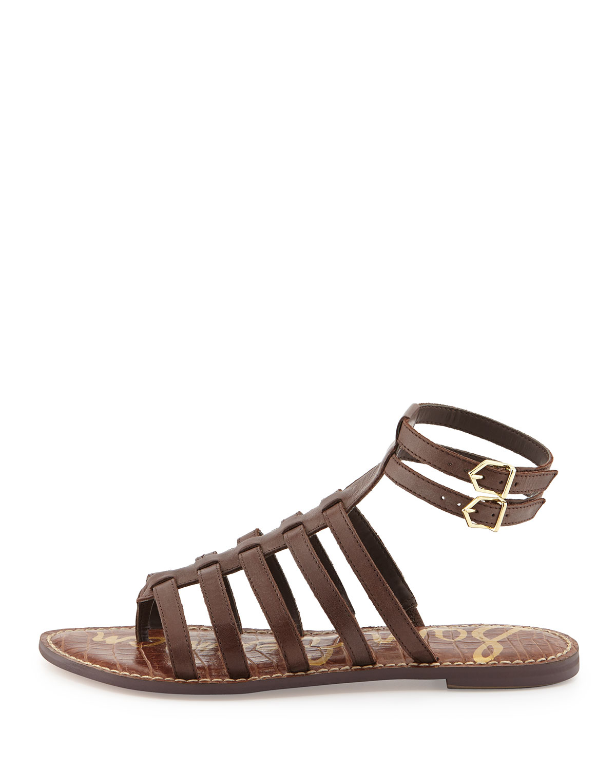 6cc7d4509e2f Lyst - Sam Edelman Gilda Flat Leather Gladiator Sandal Dark ...