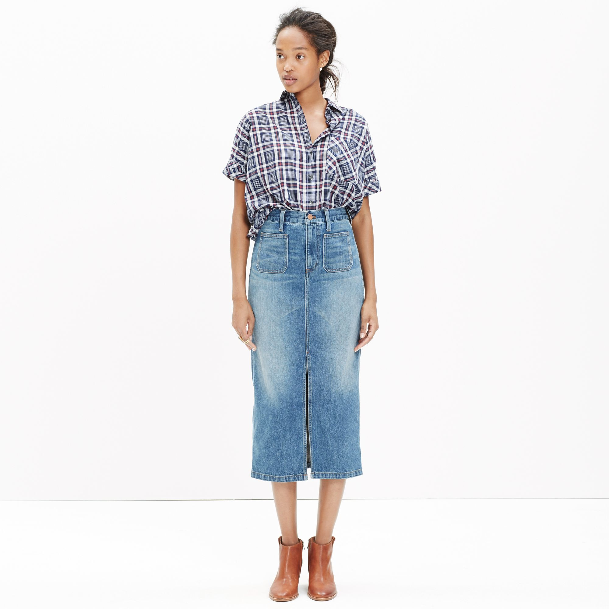 Madewell Denim Midi Skirt in Blue | Lyst