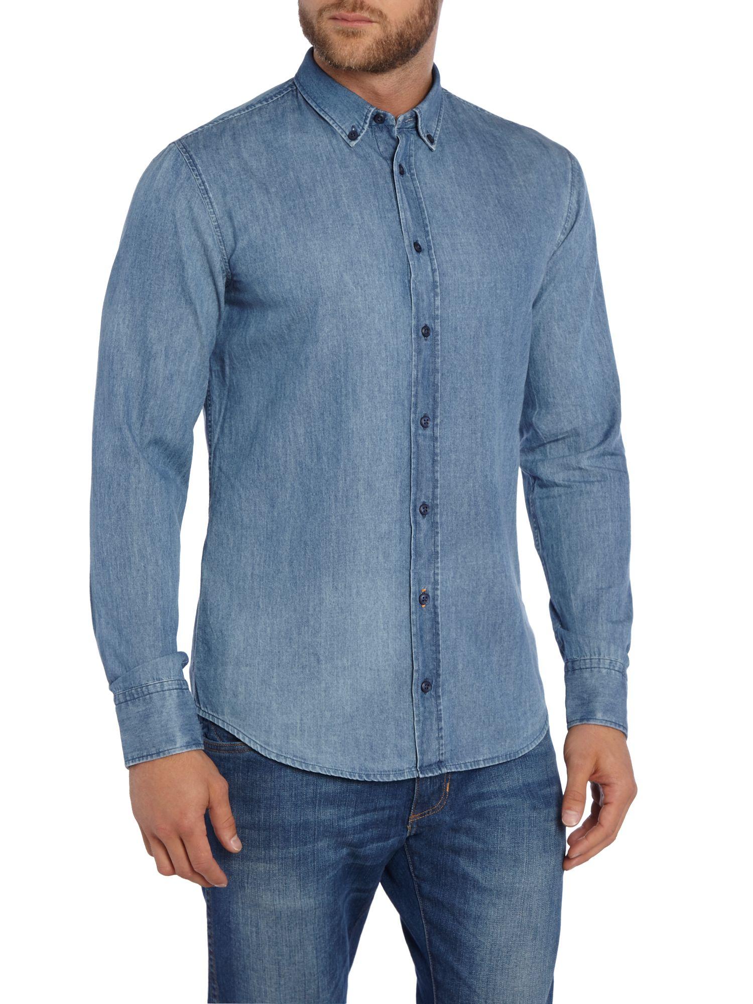 Boss Edipoe Slim Fit Button Down Denim Shirt In Blue For