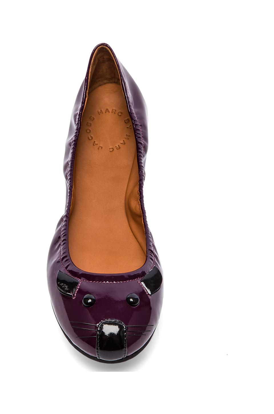 03eb2ad482ff Lyst - Marc By Marc Jacobs Mouse Patent Ballet Flats in Purple