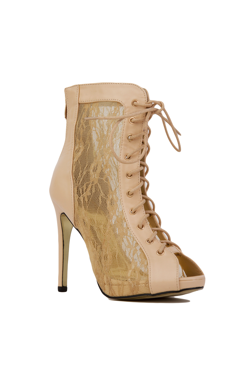 Cape Robbin Mesh Lace Up Peep Toe Beige Lace Booties In