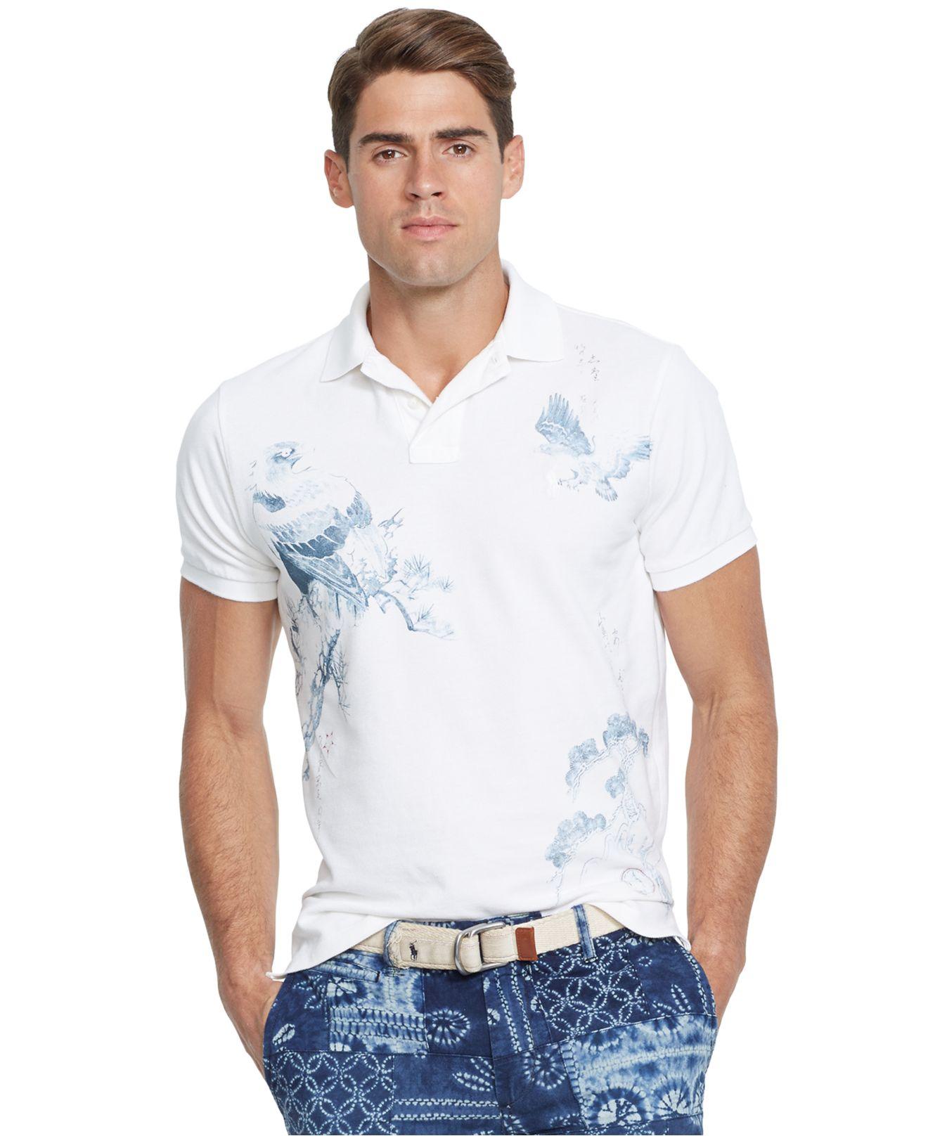 Polo ralph lauren custom fit printed polo shirt in white for Custom printed polo shirts cheap