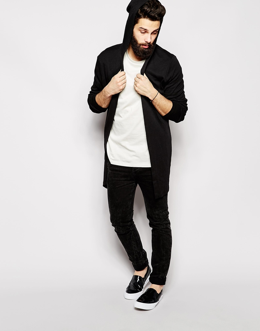 Asos Super Longline Hooded Cardigan In Slub Fabric in Black for ...