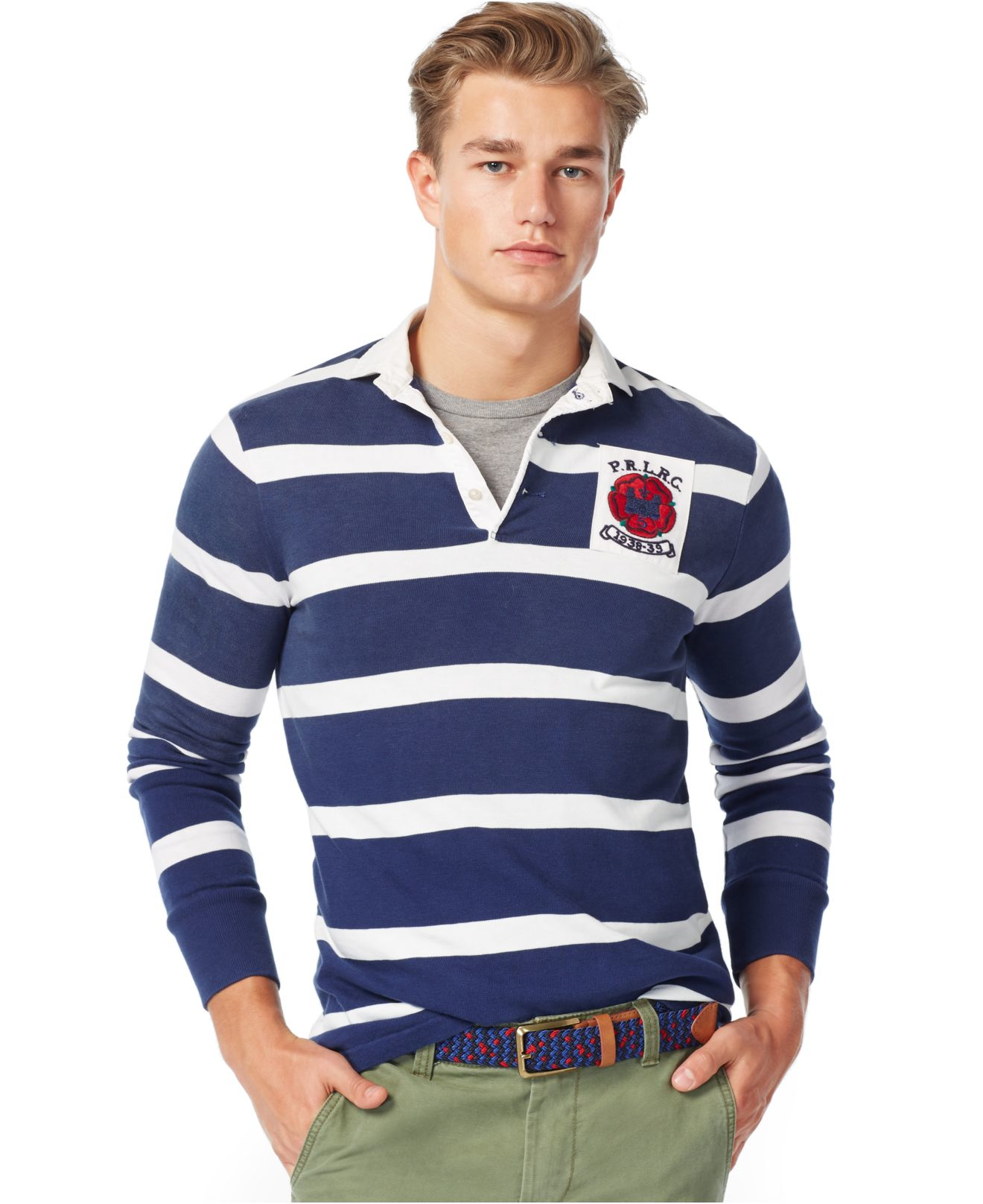 Polo ralph lauren long sleeve striped rugby shirt in blue for Long sleeve striped rugby shirt