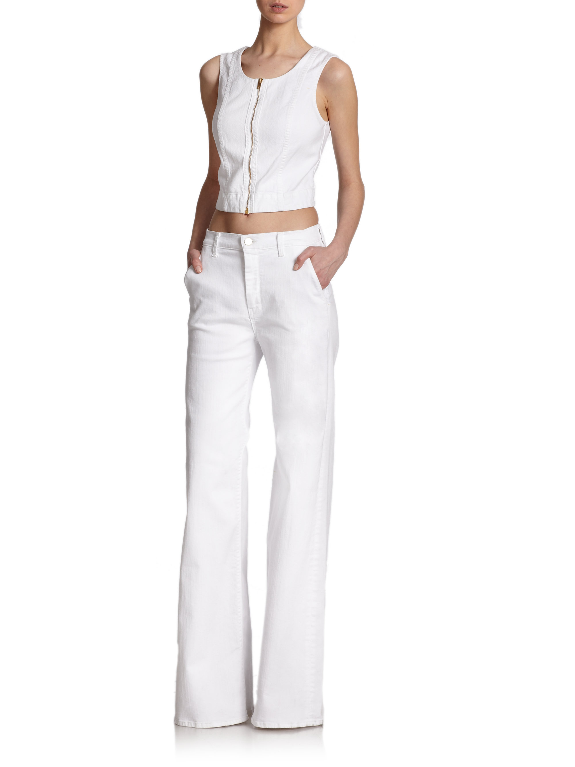 7 for all mankind High-Waist Flared Jeans in White | Lyst