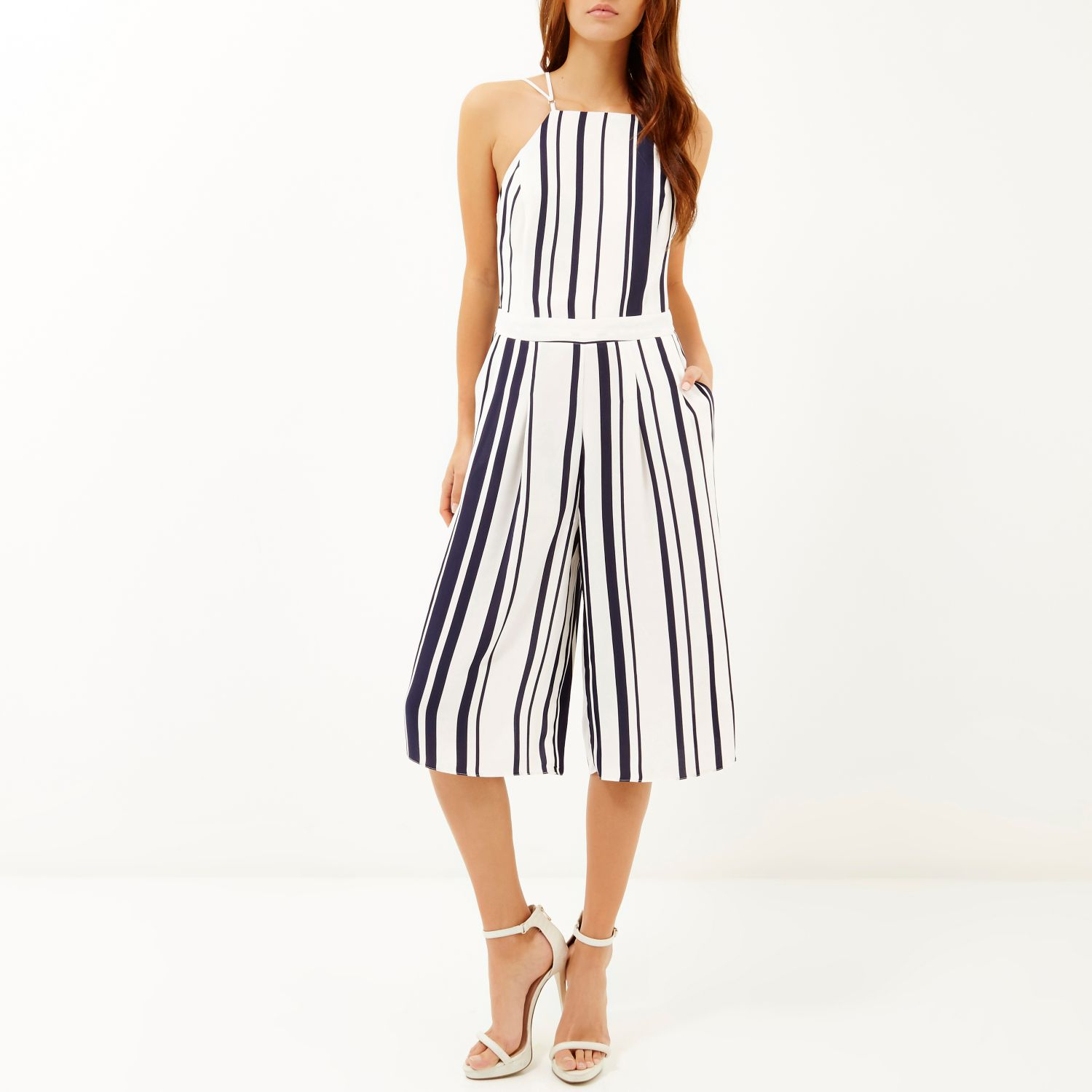 6f329b6e592f River Island Navy Stripe Strappy Cropped Jumpsuit in Blue - Lyst