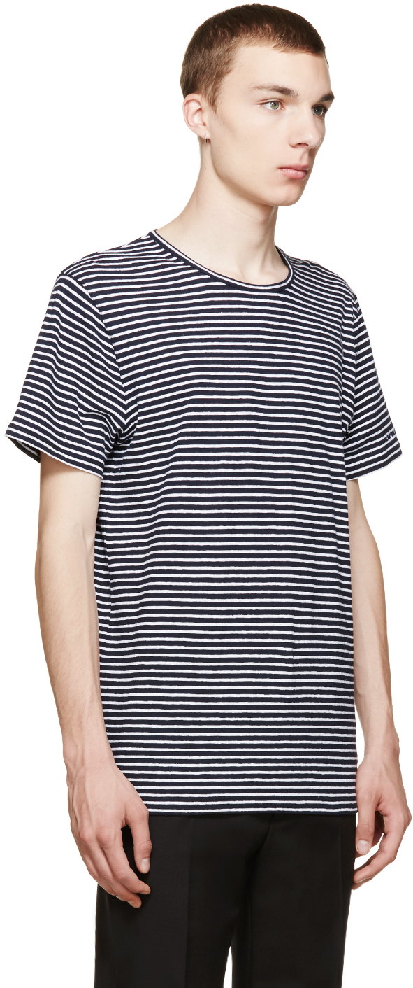 A p c navy and white striped linen t shirt in blue for for Apc white t shirt