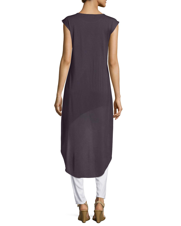 neiman marcus cap sleeve high low tee in purple grey smoke lyst. Black Bedroom Furniture Sets. Home Design Ideas