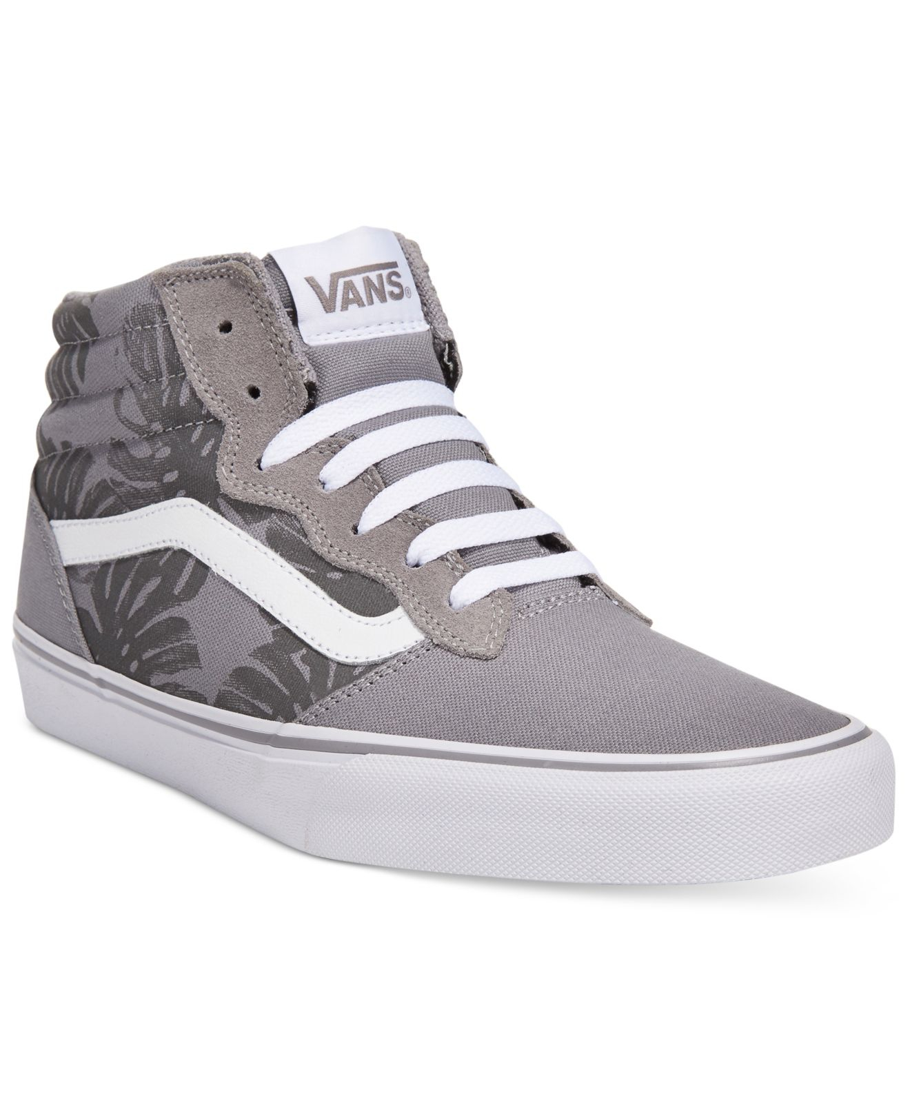 vans men 39 s milton hi top floral sneakers in gray for men grey lyst. Black Bedroom Furniture Sets. Home Design Ideas