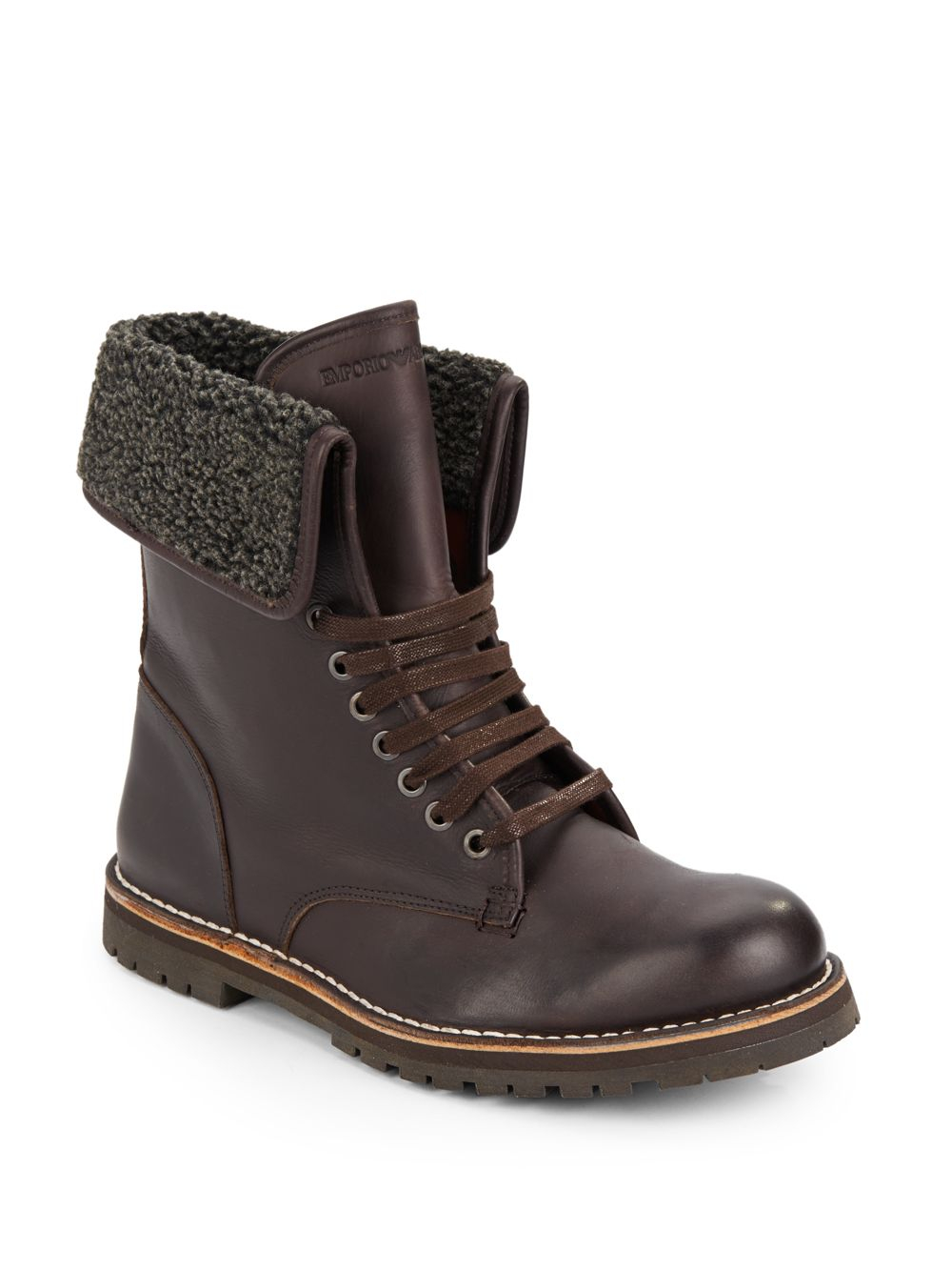 emporio armani fleece lined leather boots in brown for