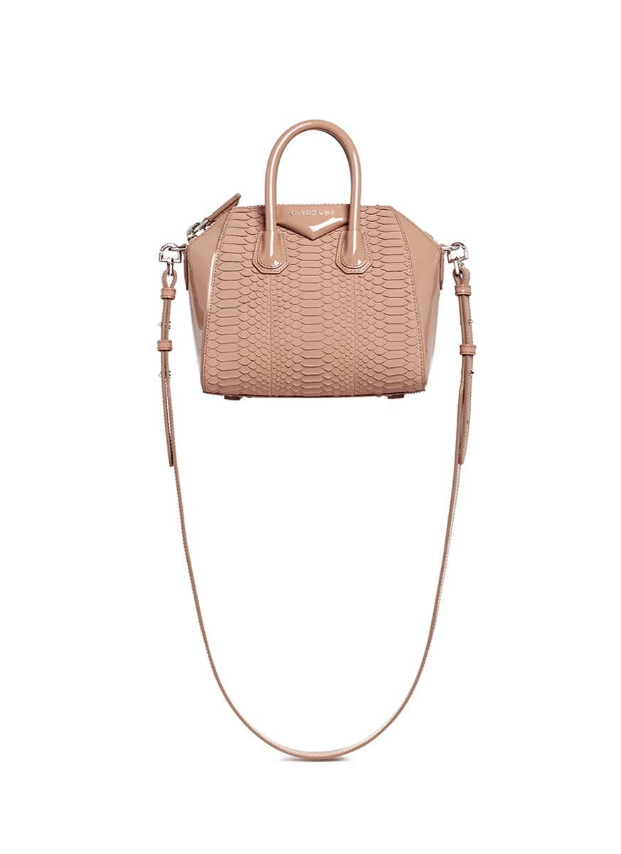 0f0e94c8b3a8 Lyst - Givenchy  antigona  Mini Python Panel Patent Leather Bag in Pink