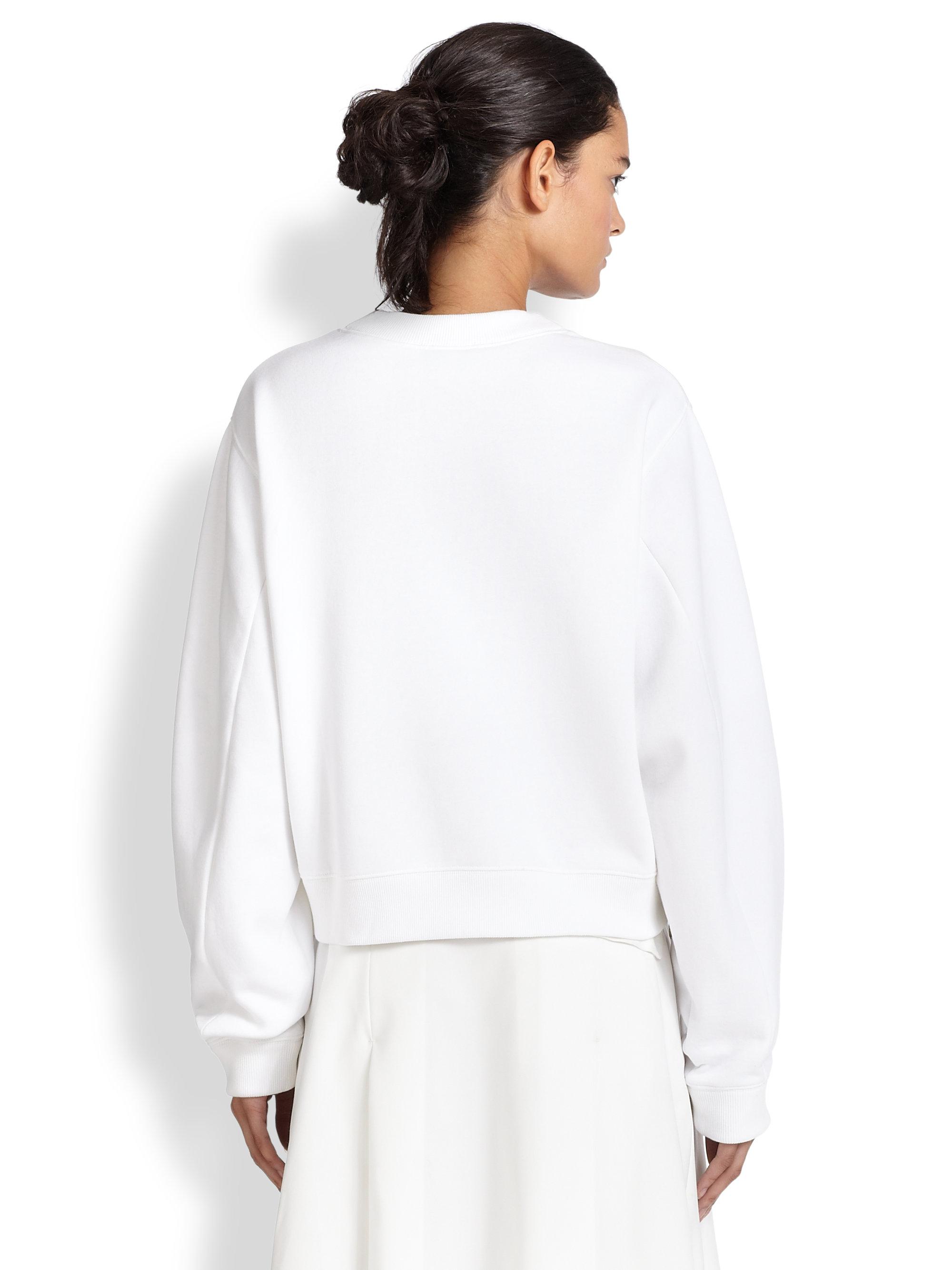 Acne studios Bird Fleece Sweater in White | Lyst