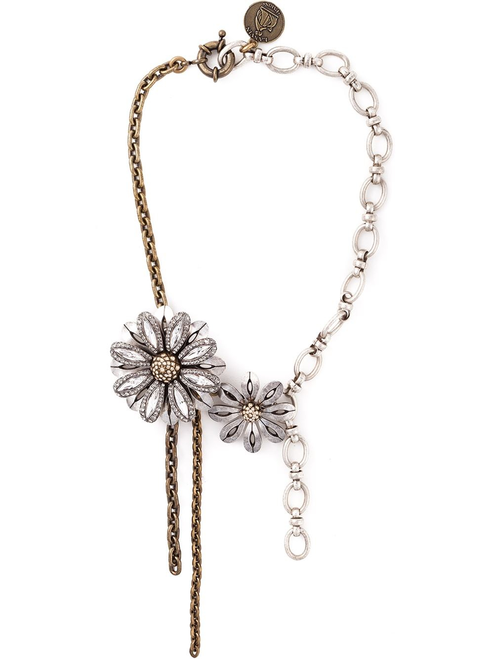 Lanvin Flower Choker Necklace in Gray