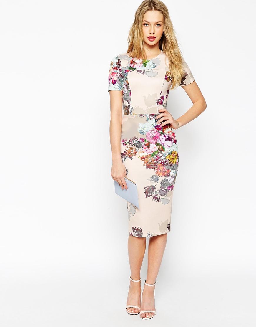 Asos Floral Print Scuba Bodycon Dress in Gray | Lyst