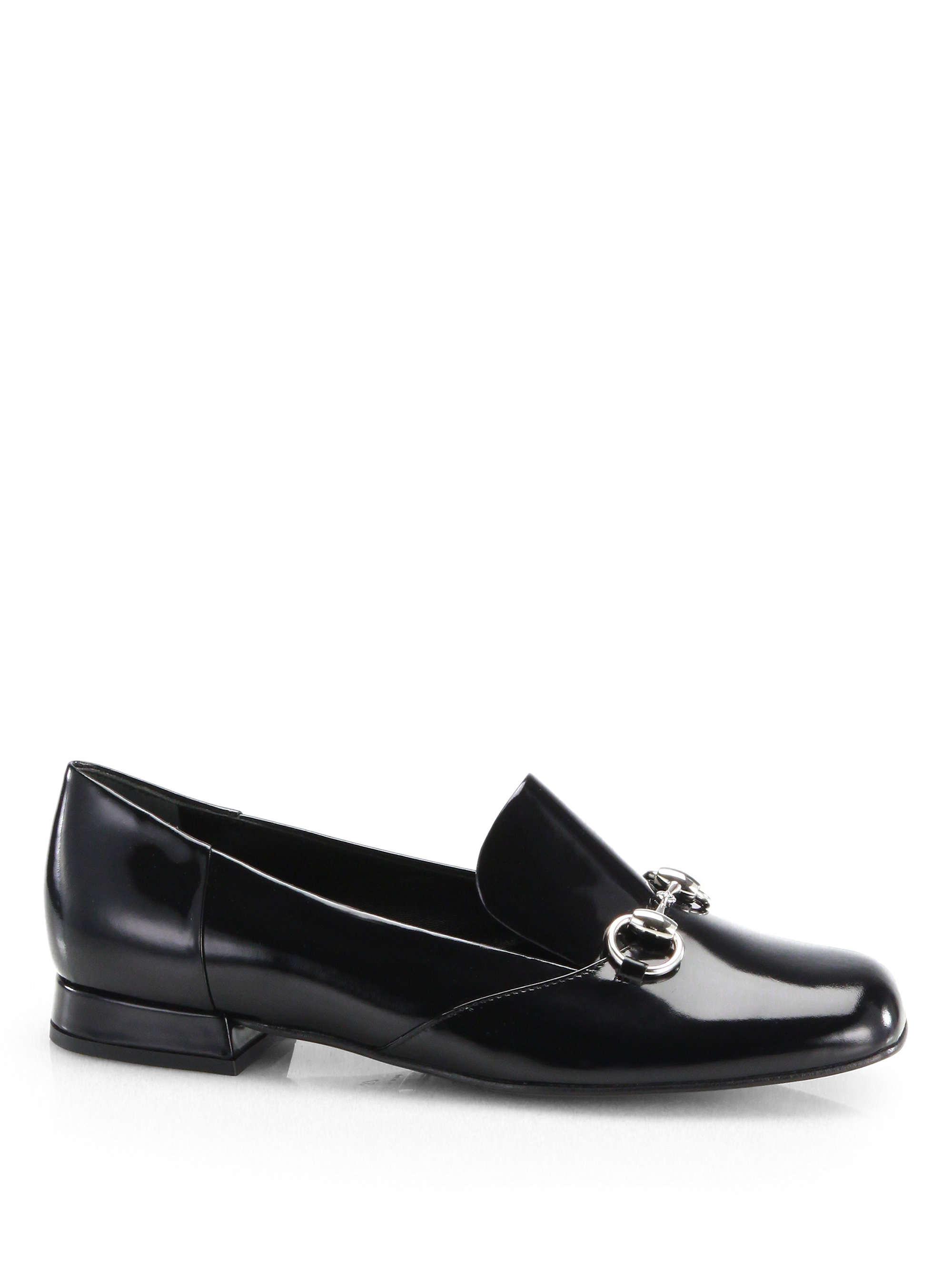 Gucci Patent Leather Horsebit Loafers In Black Lyst