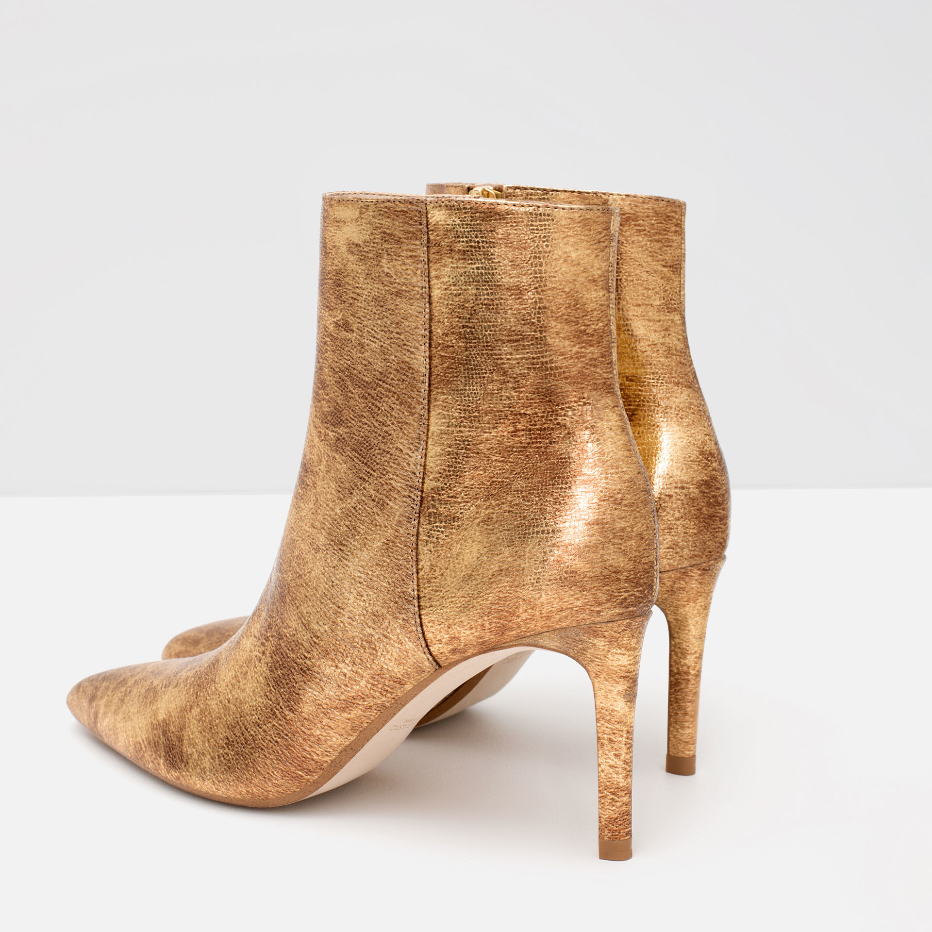 zara shiny leather high heel ankle boots in metallic lyst