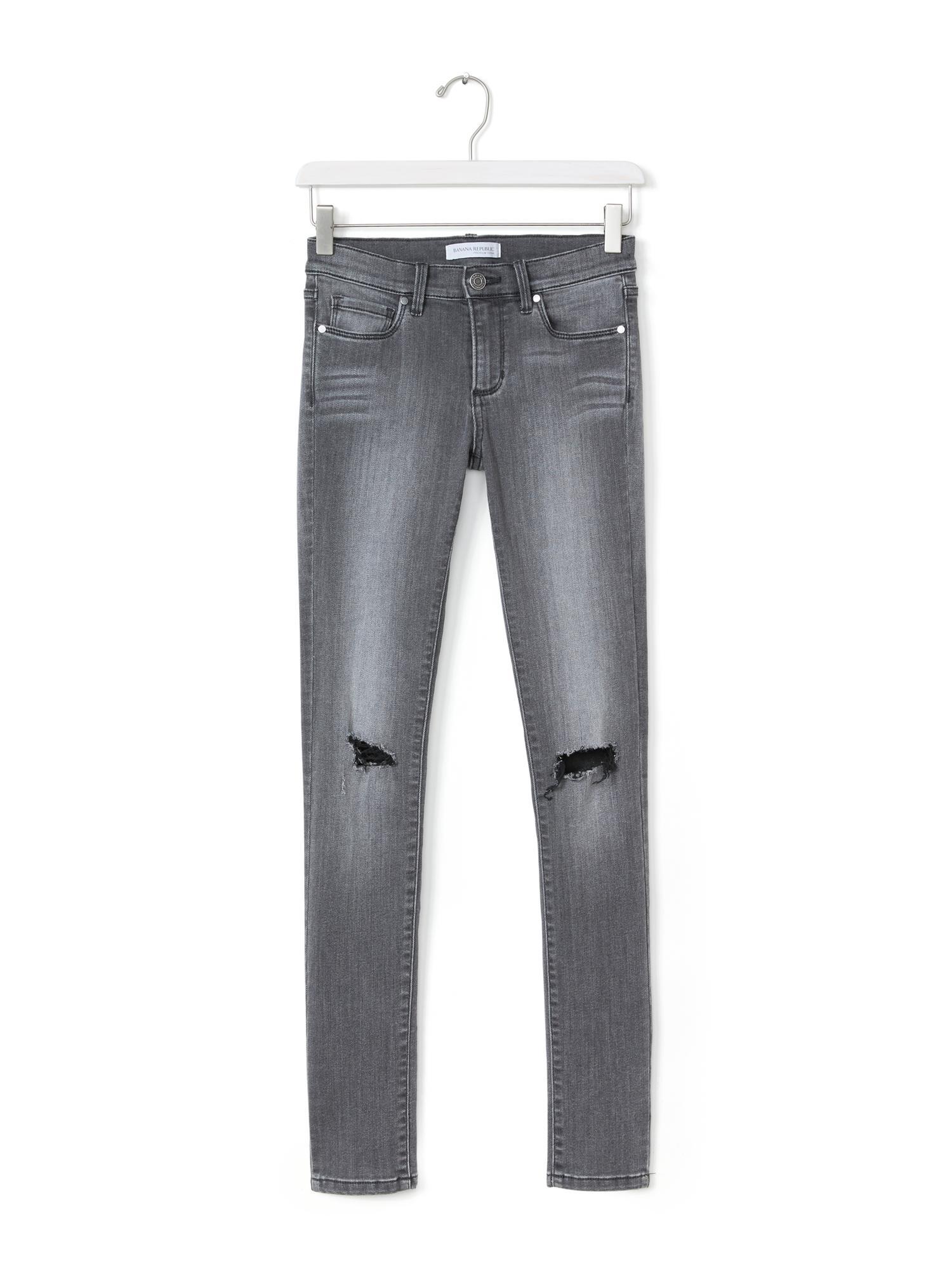 Banana republic Destroyed Gray Skinny Jean in Black | Lyst
