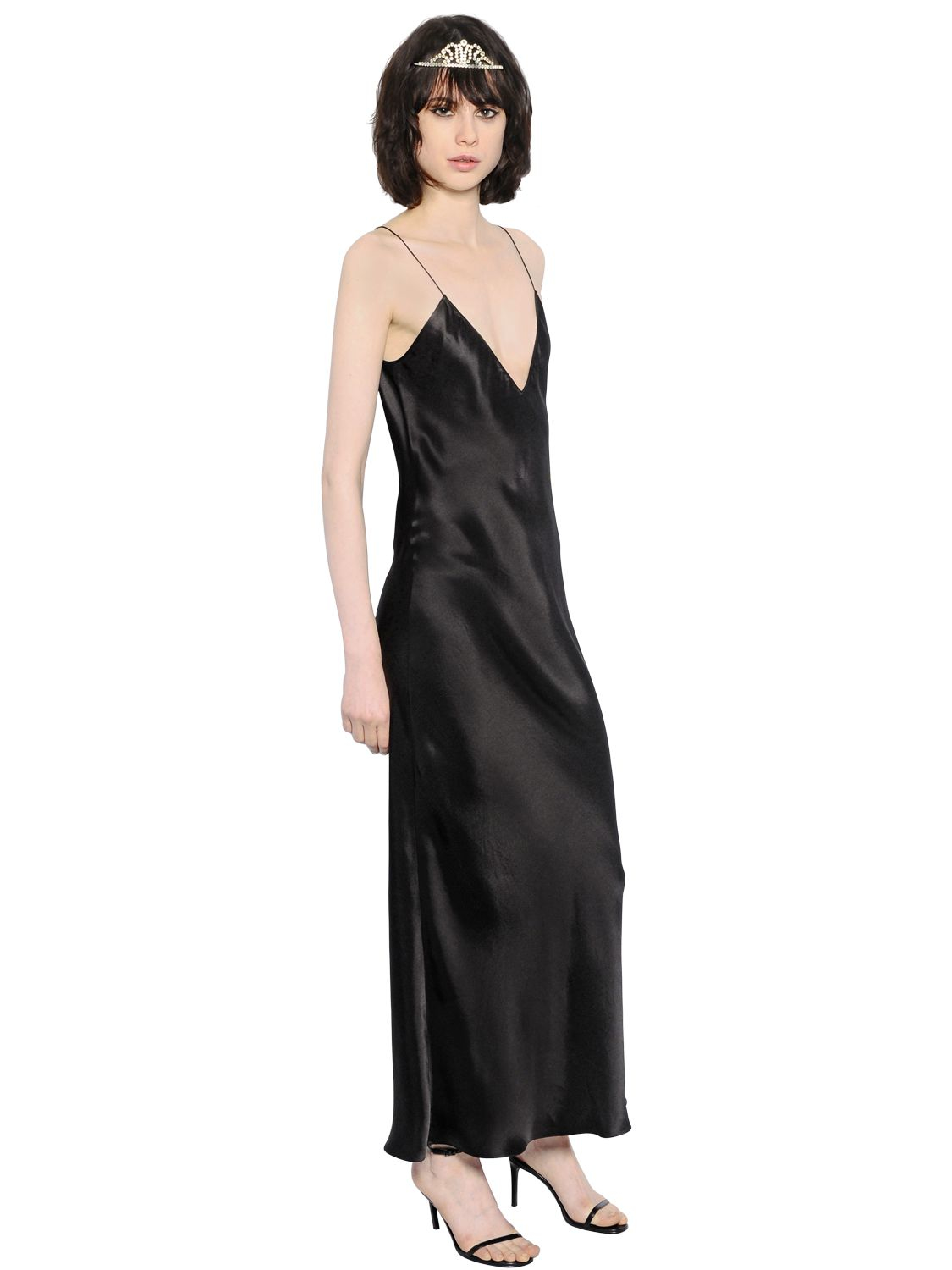 Saint laurent Silk Satin Slip Maxi Dress in Black  Lyst