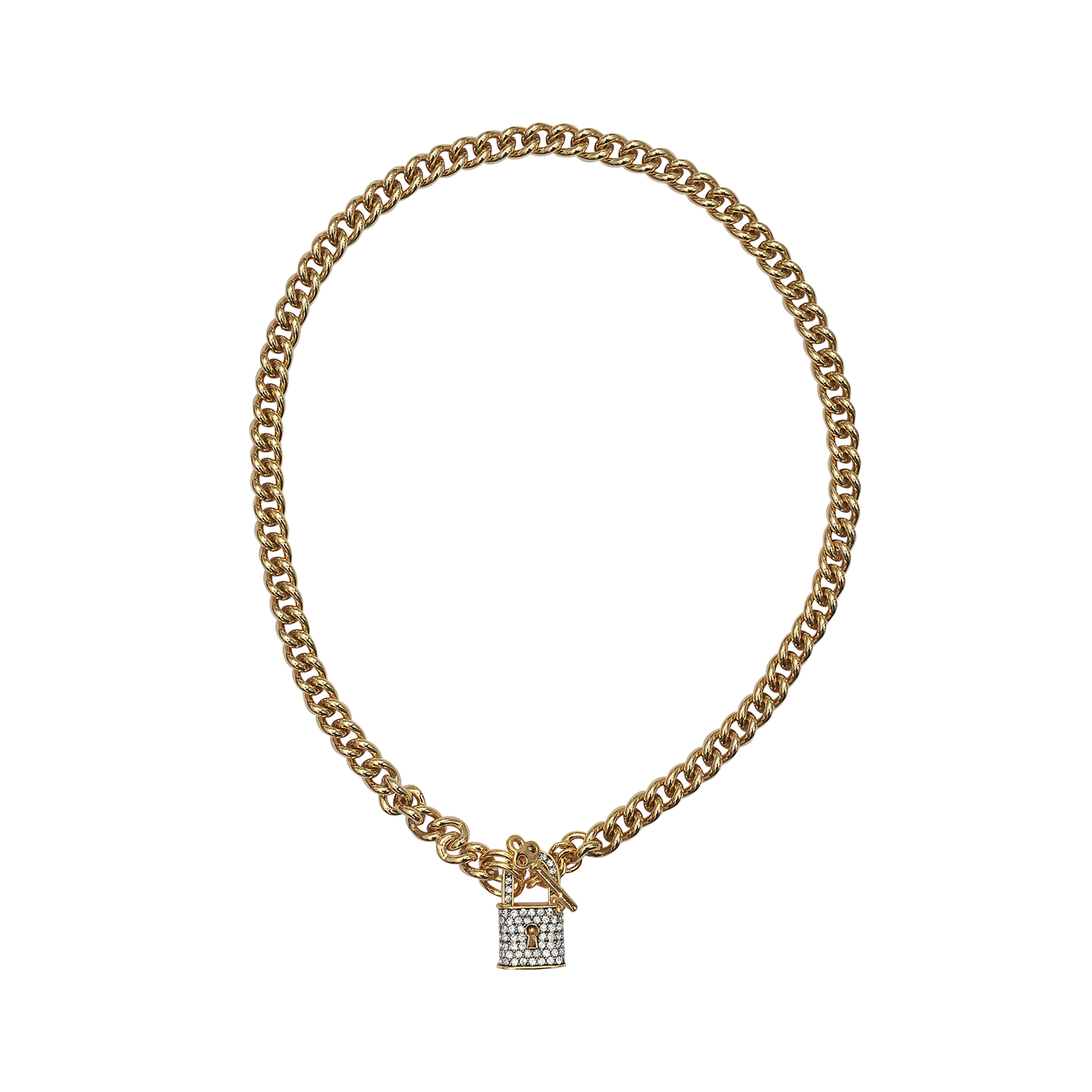 Juicy Couture Pave Lock Necklace in Gold (Metallic)