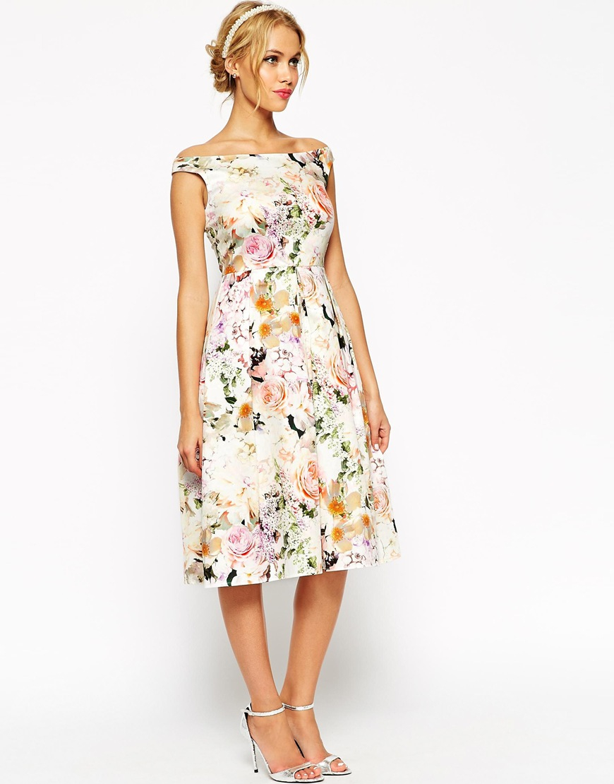 Lyst Asos Wedding Midi Floral Prom Dress