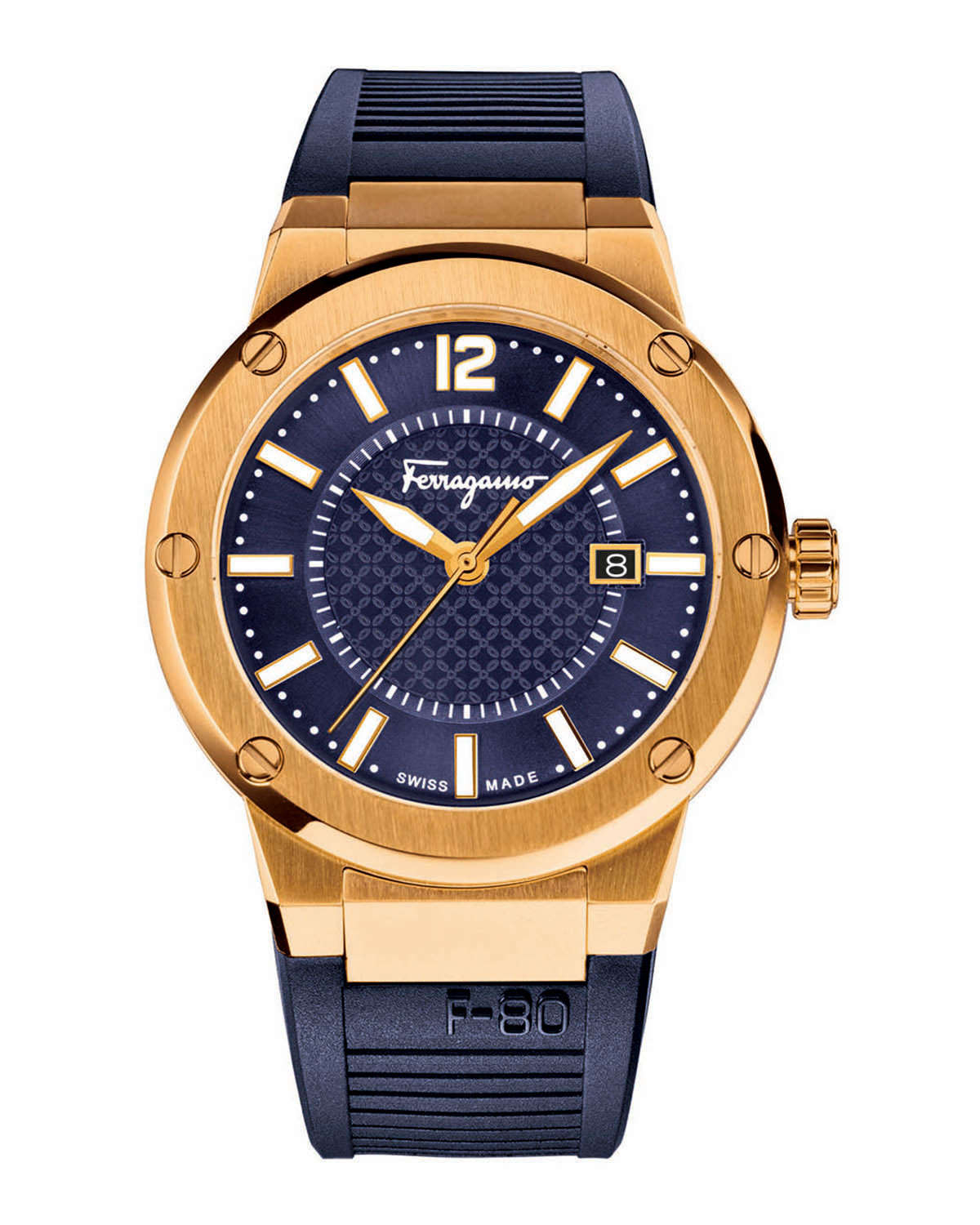 ferragamo f 80 gold ion plated in blue lyst