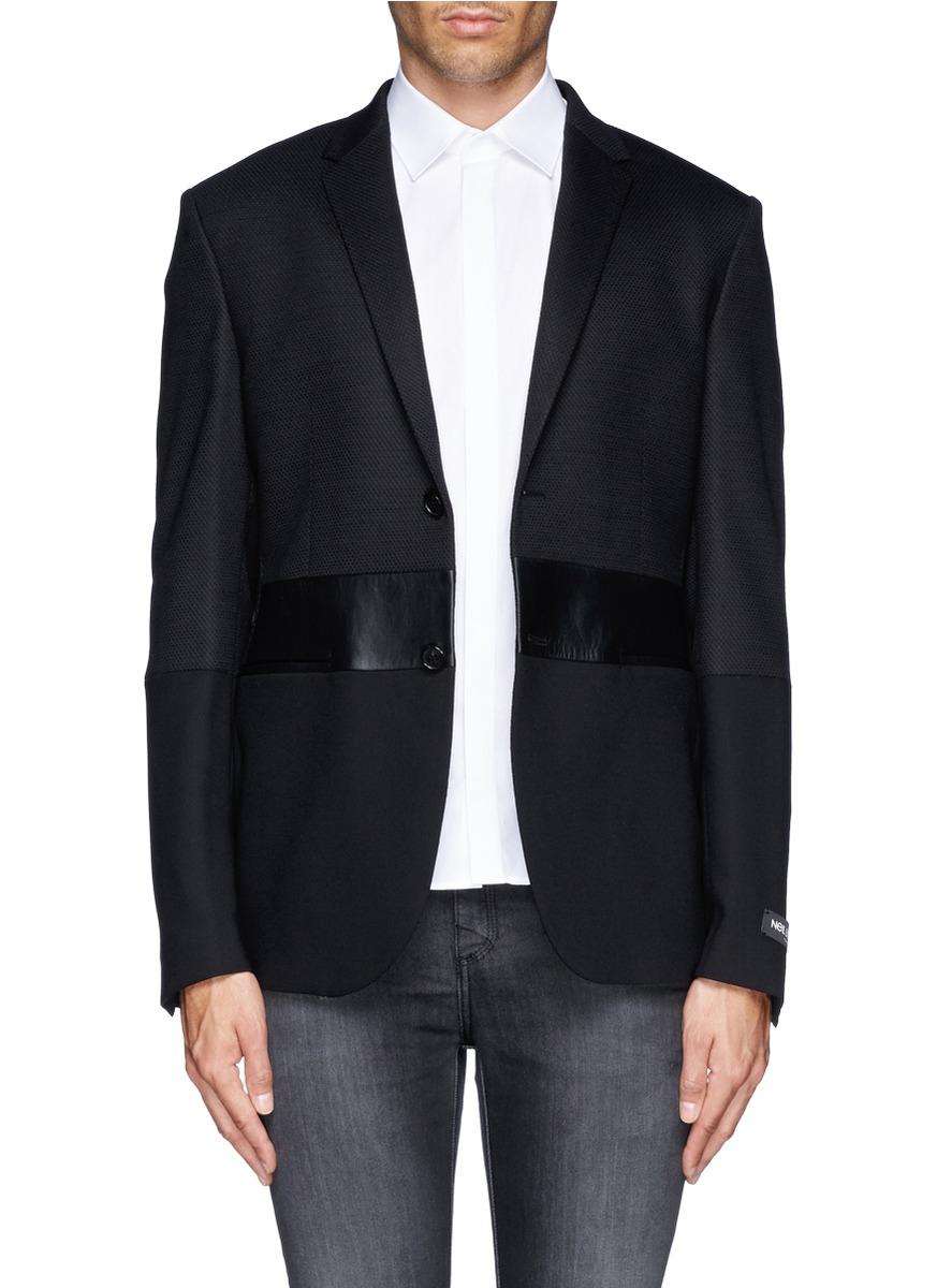 Neil barrett contrast material tuxedo jacket in black for for Neil barrett tuxedo shirt