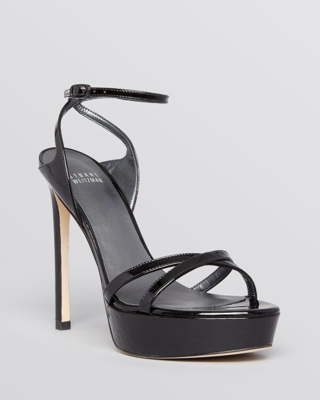 stuart weitzman open toe platform evening sandals bebare