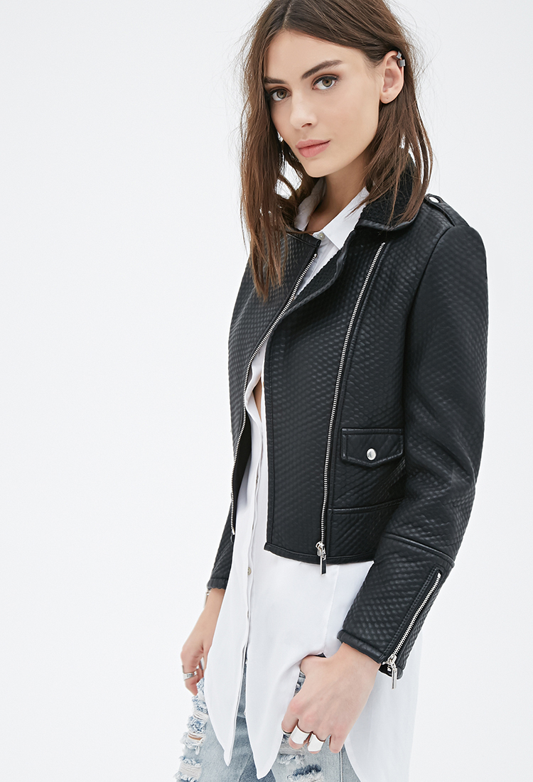 dfca820f2 Forever 21 Black Textured Faux Leather Moto Jacket