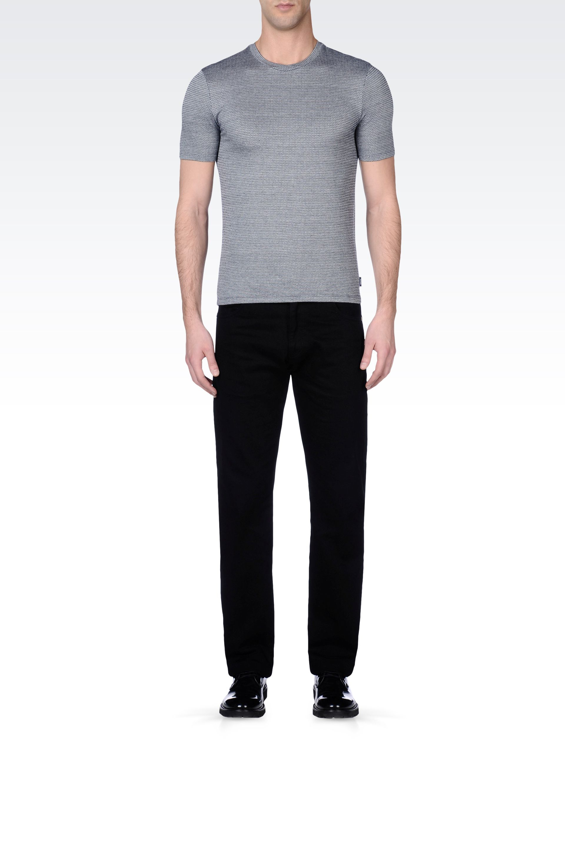 e31fef7d2f5f Lyst - Armani Jersey Tshirt with Micro Pattern Detail in Gray for Men