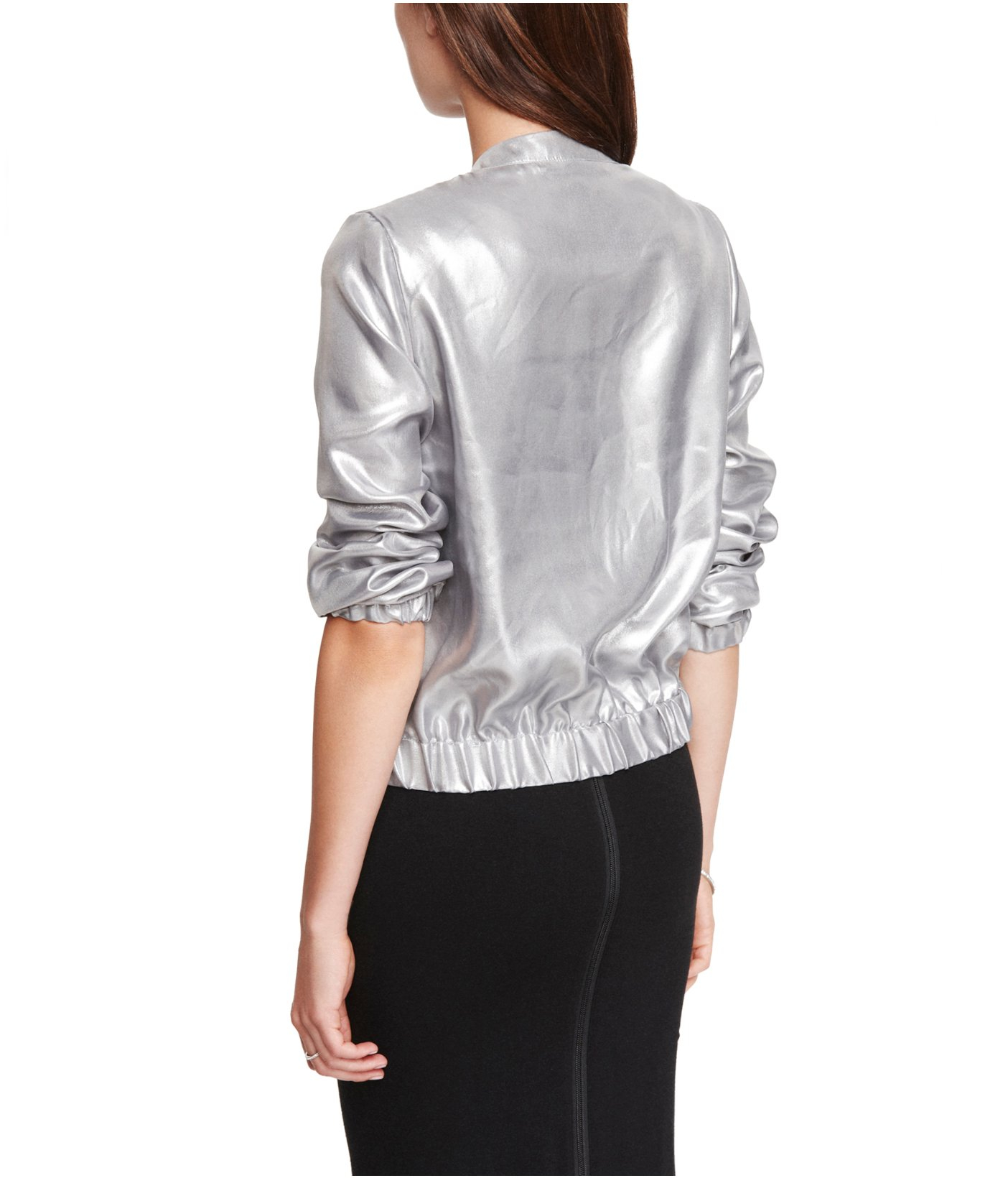 Express Silver Soft Bomber Jacket in Metallic | Lyst