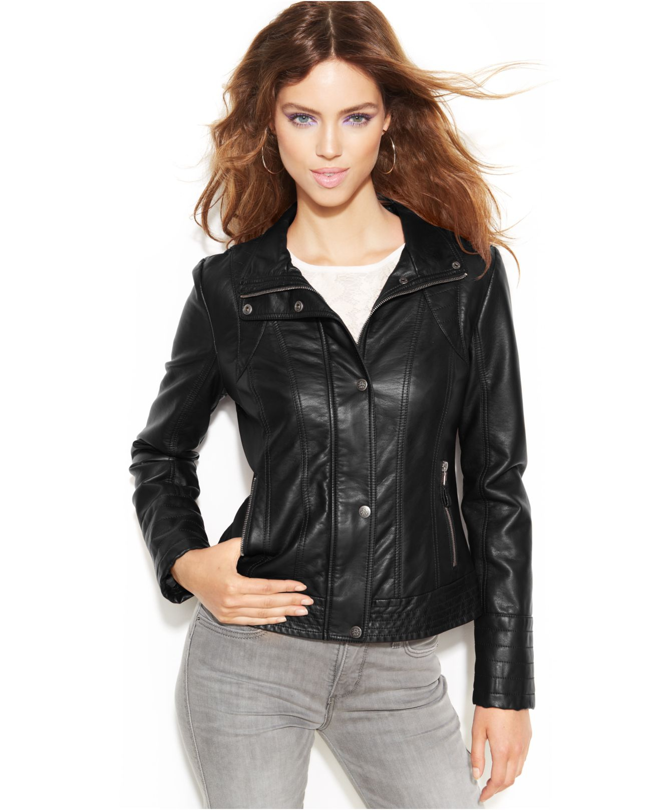 Jessica Simpson Faux Leather Moto Jacket In Black Lyst