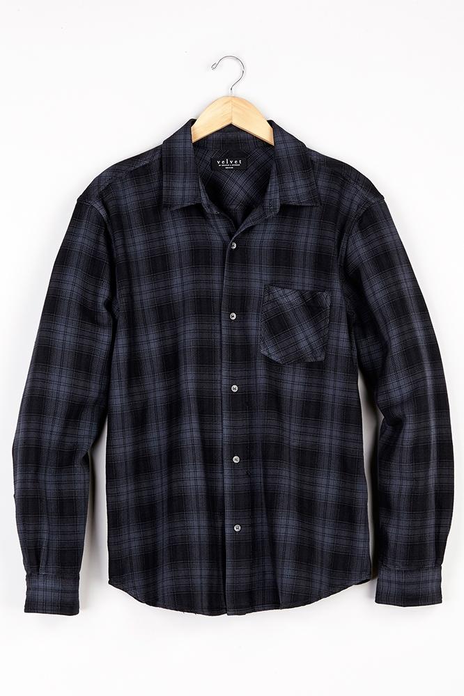 Velvet by graham spencer nash plaid button up shirt in for Purple plaid button up shirt