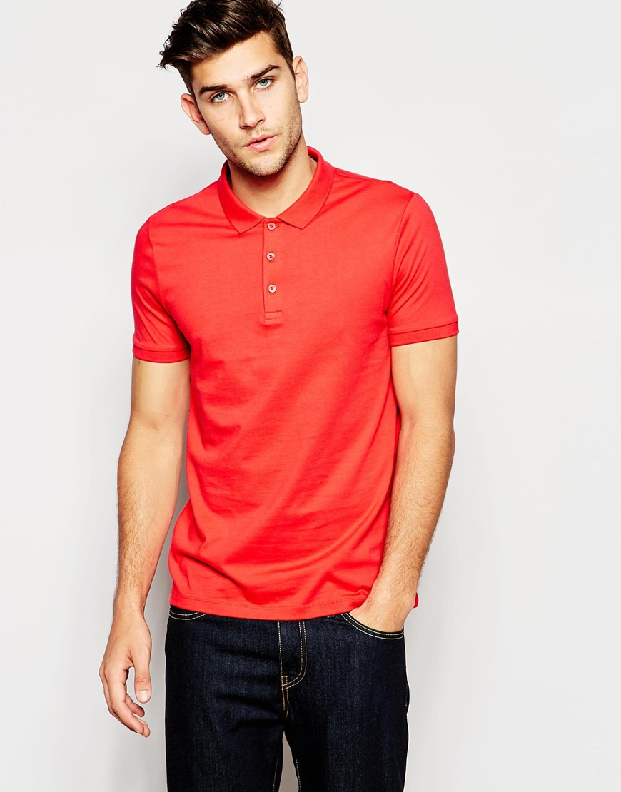 Asos Polo Shirt In Jersey In Red For Men Lyst