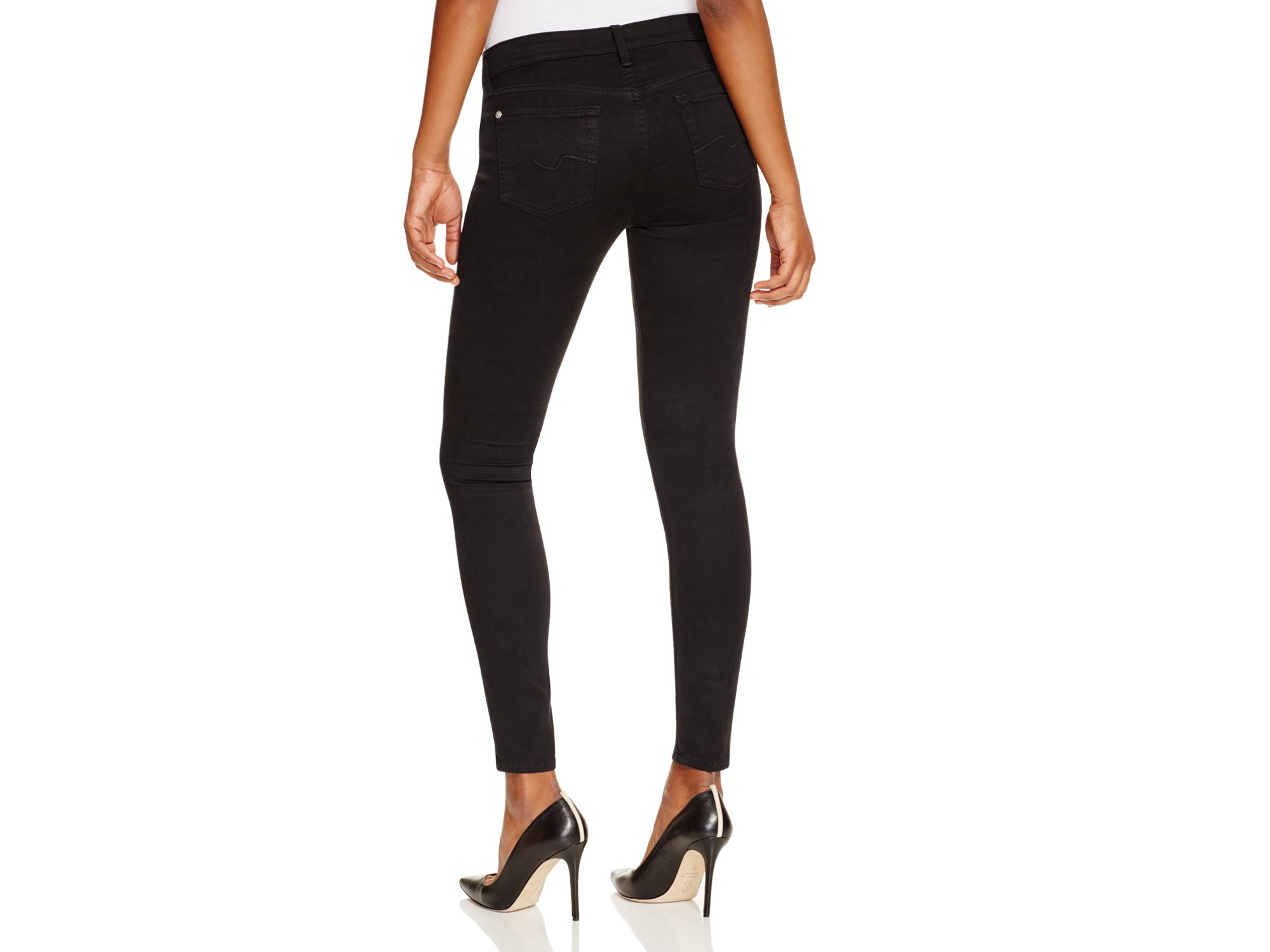 7 for all mankind Gwenevere Skinny Jeans In Black - Compare At ...