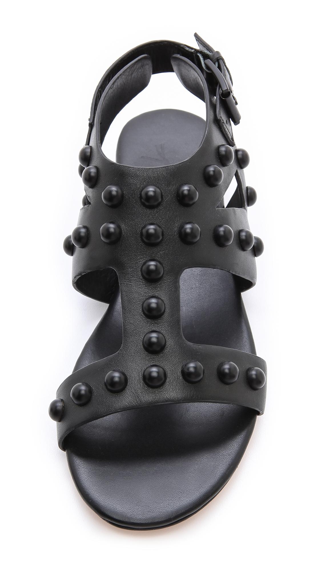 Lyst Isa Tapia Geri Studded Flat Sandals In Black