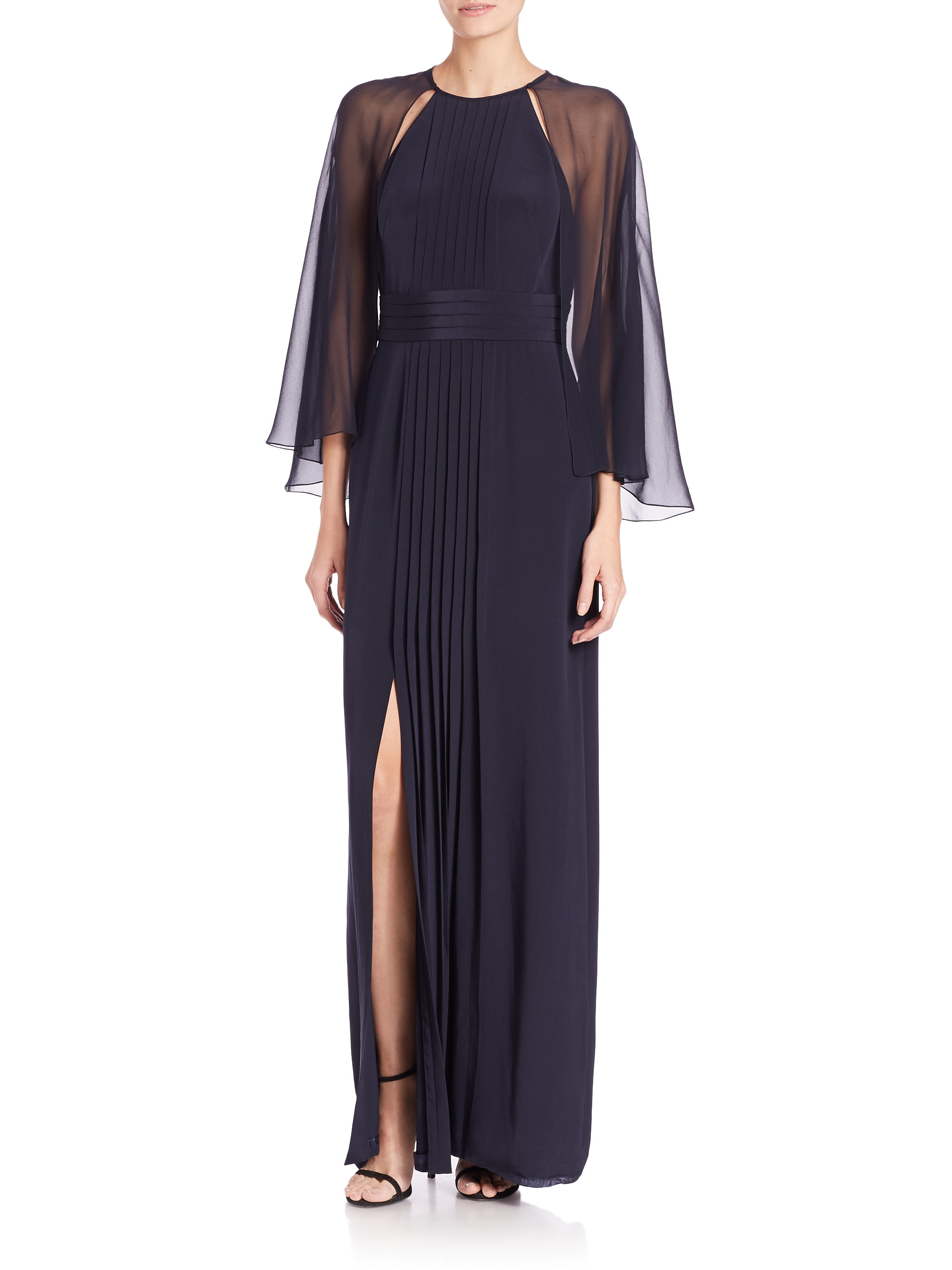 Lyst Kay Unger Chiffon Capelet Crepe Gown In Blue
