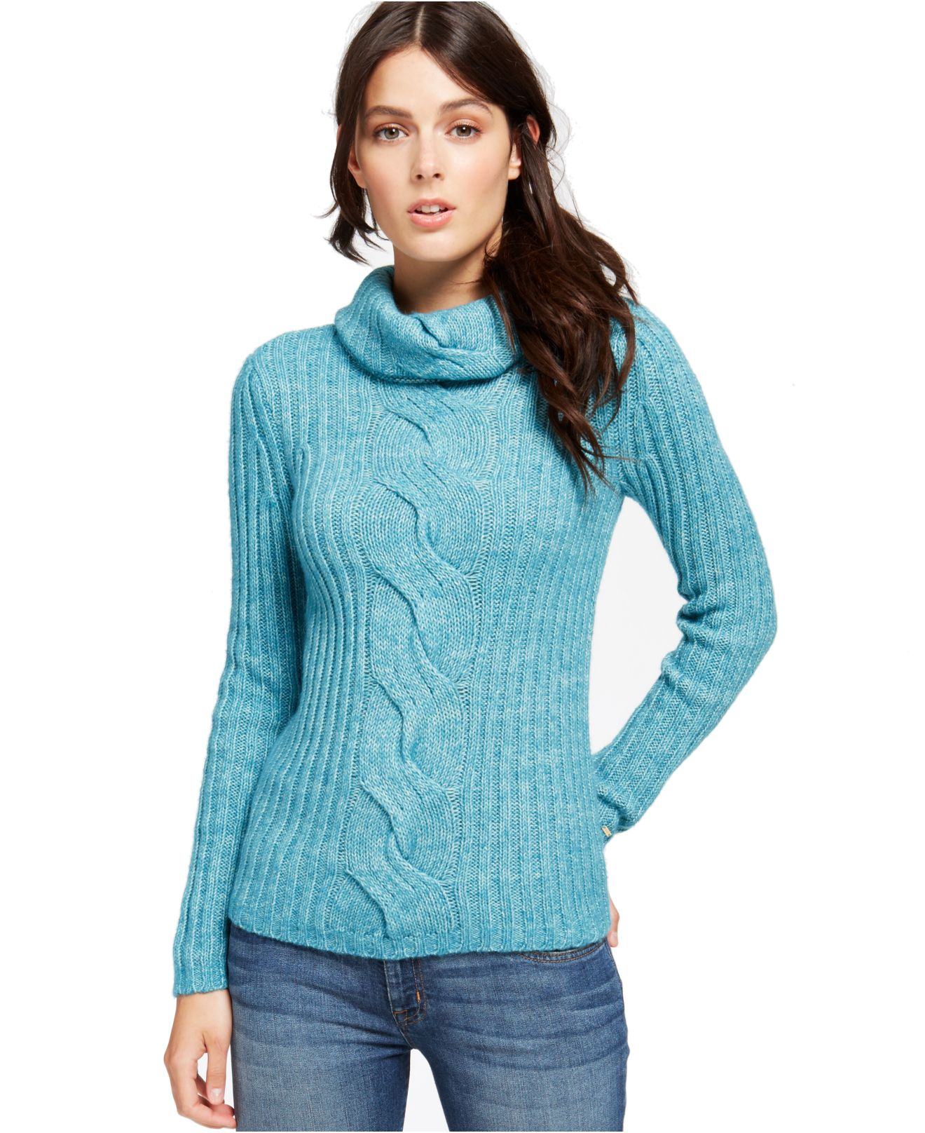 Cowl Neckline: Tommy Hilfiger Cable-Knit Cowl-Neck Sweater In Blue