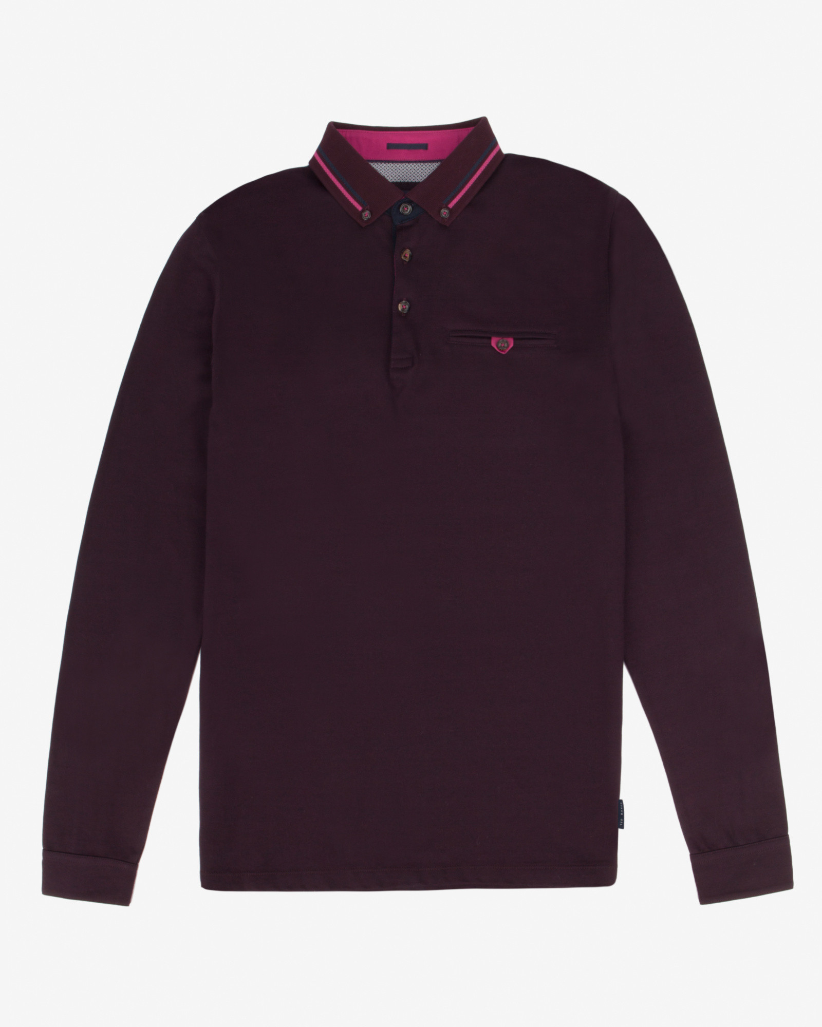 Ted baker long sleeved polo shirt in purple for men dark red for Long sleeve purple polo shirt