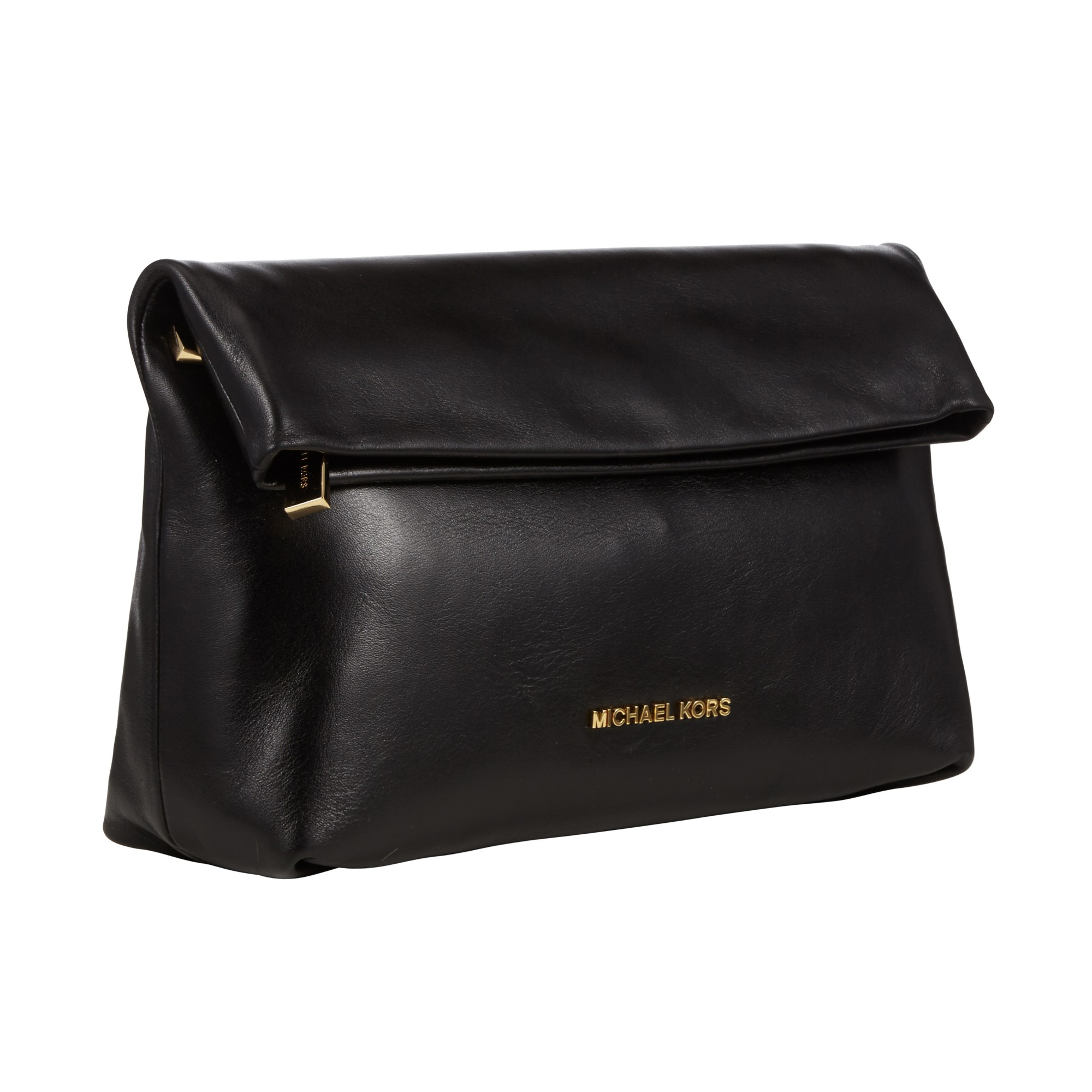 de388b4eabc2 ... coupon code for michael michael kors daria fold over leather clutch bag  in black lyst a138a
