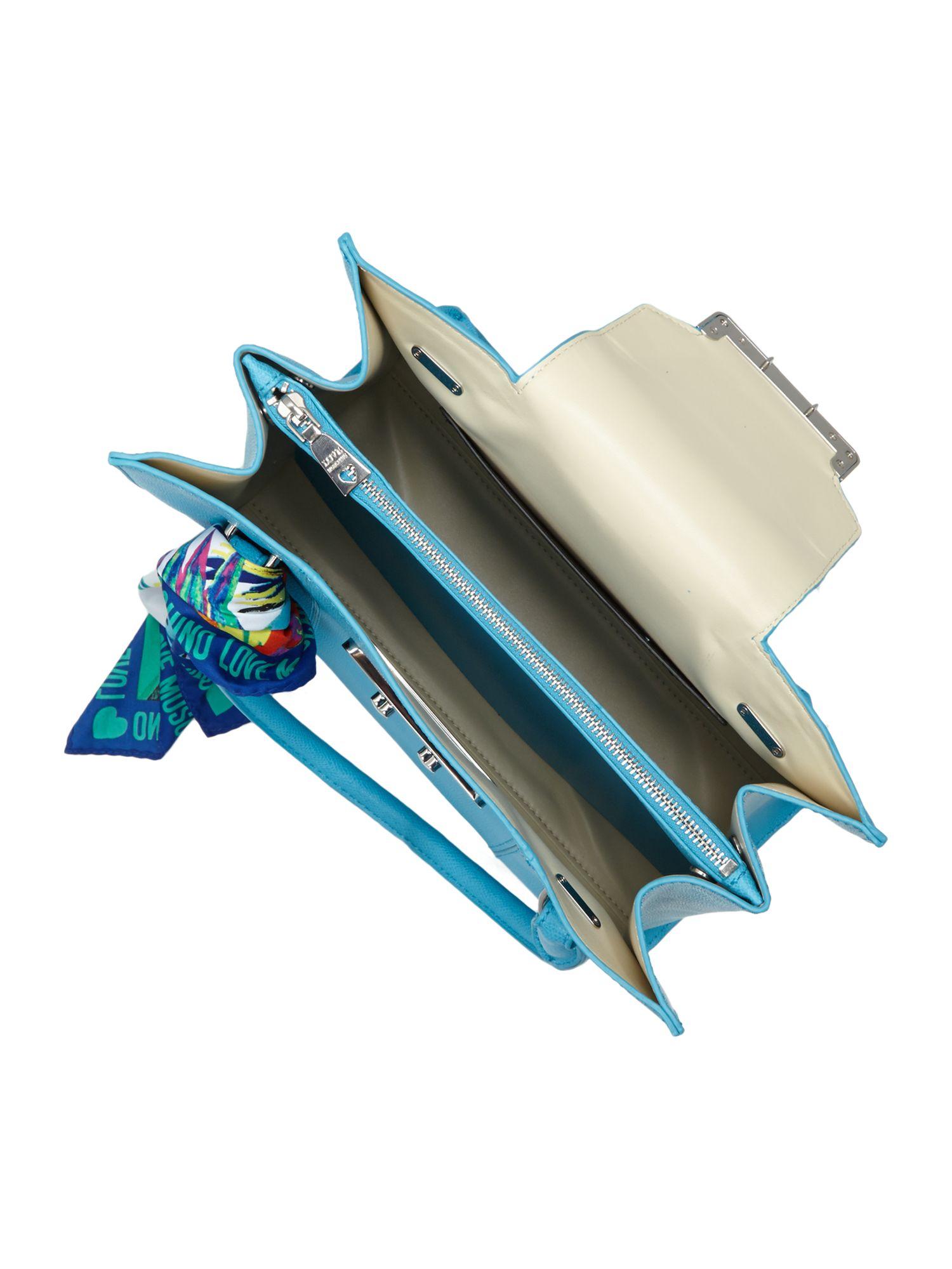 Love Moschino Blue Medium Saffiano Tote Bag