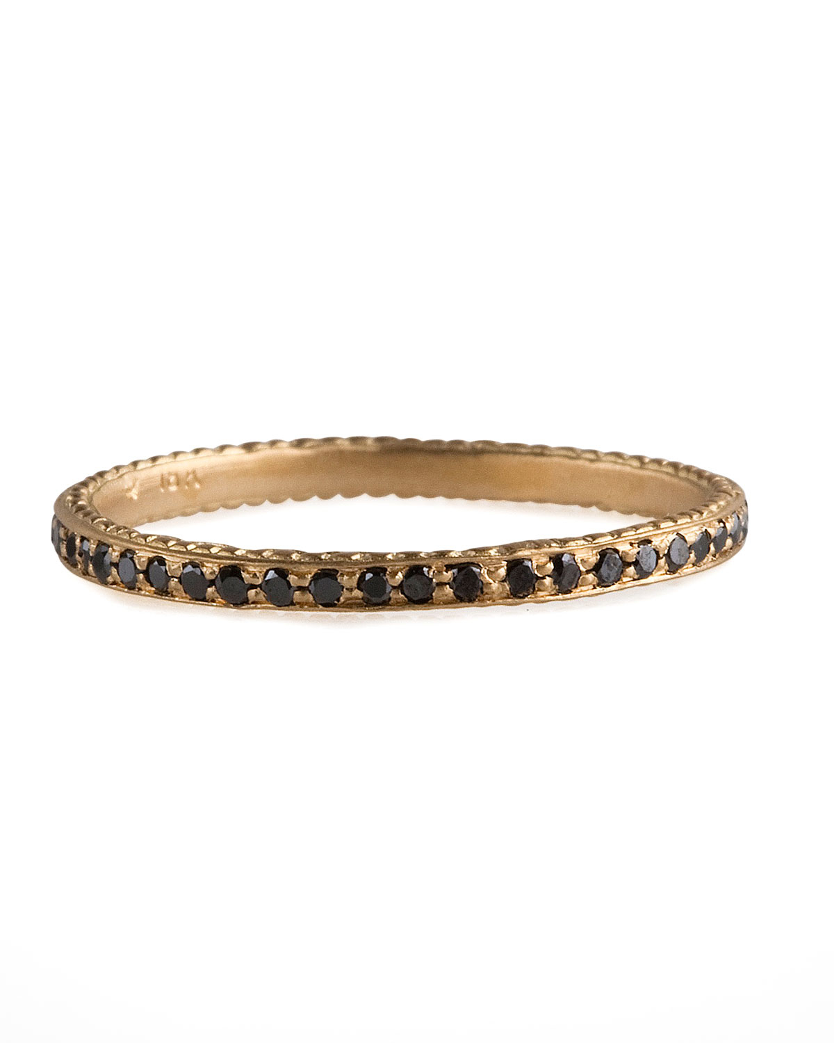 wolf thin pave black band ring in metallic