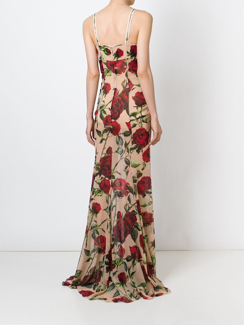 Lyst dolce gabbana rose print gown in natural for Dolce gabbana wedding dress