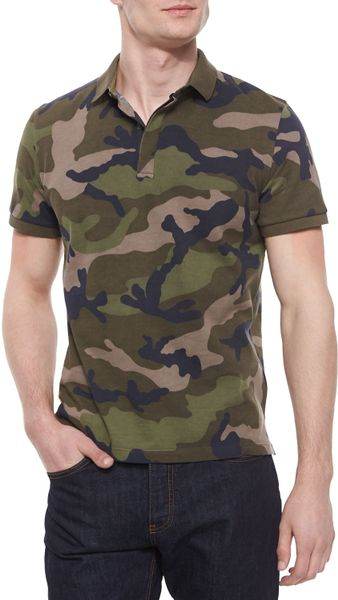 Valentino camouflage print pique polo shirt in green for for Camo polo shirts for men