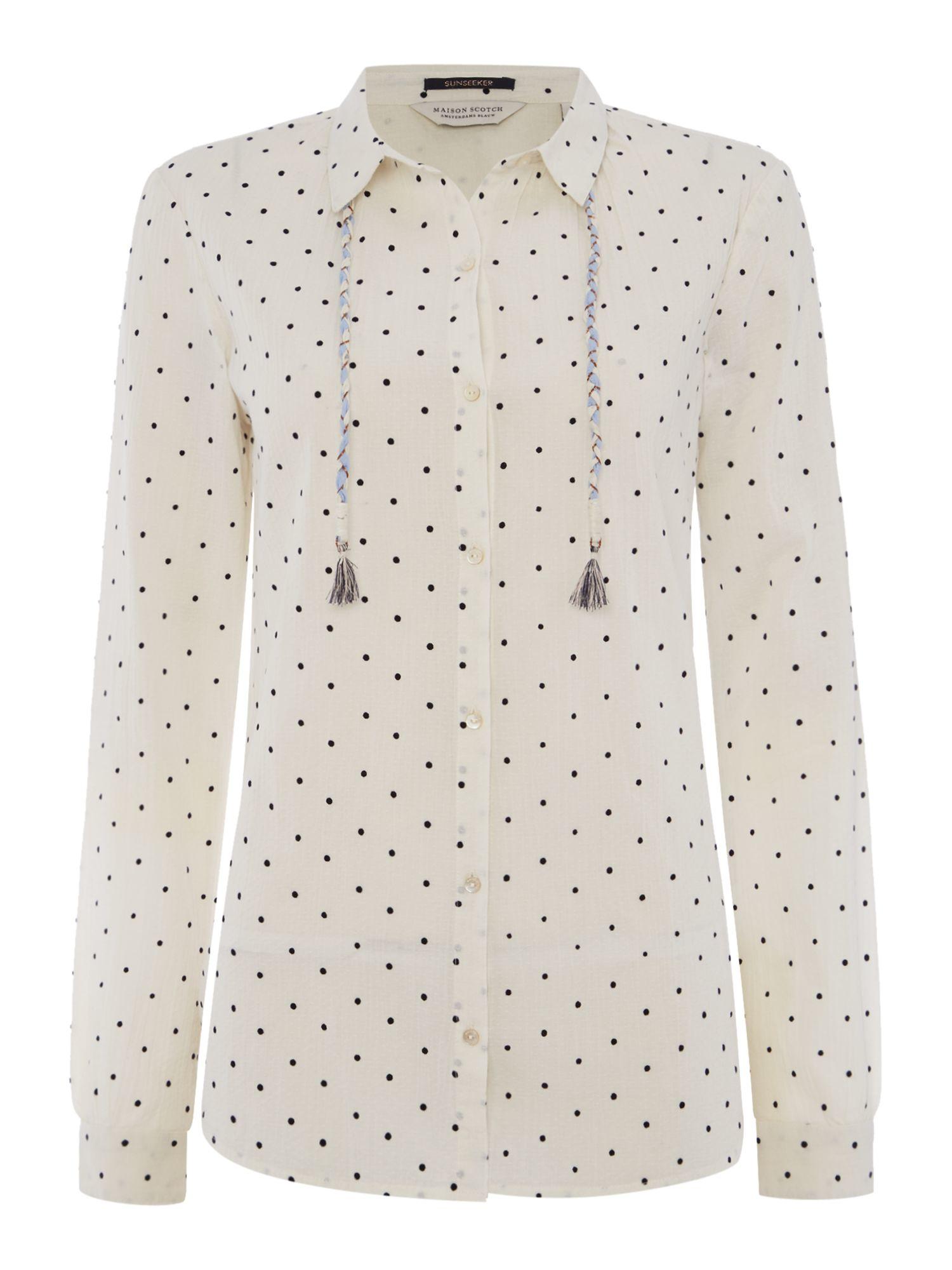 Lyst maison scotch lightweight long sleeve polka dot for Lightweight long sleeve shirts women s