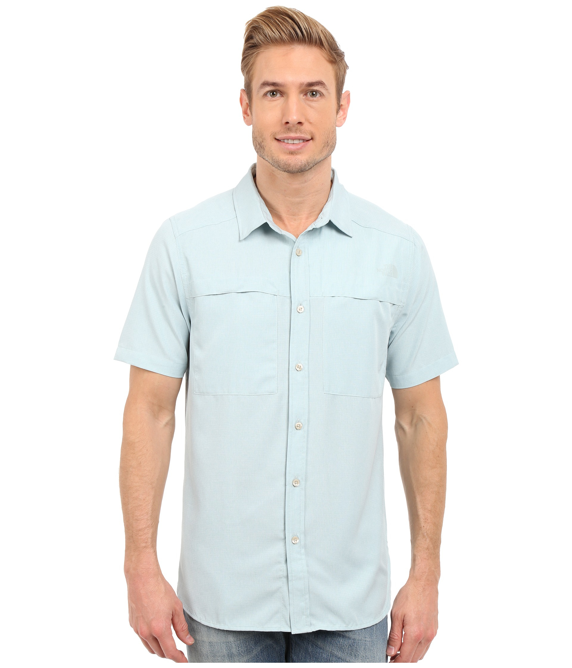 5f34ed56c The North Face Blue Short Sleeve Traverse Shirt for men
