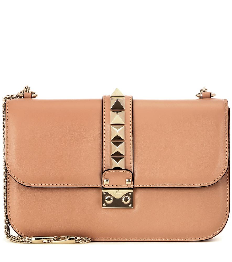 valentino lock medium leather shoulder bag in pink lyst. Black Bedroom Furniture Sets. Home Design Ideas