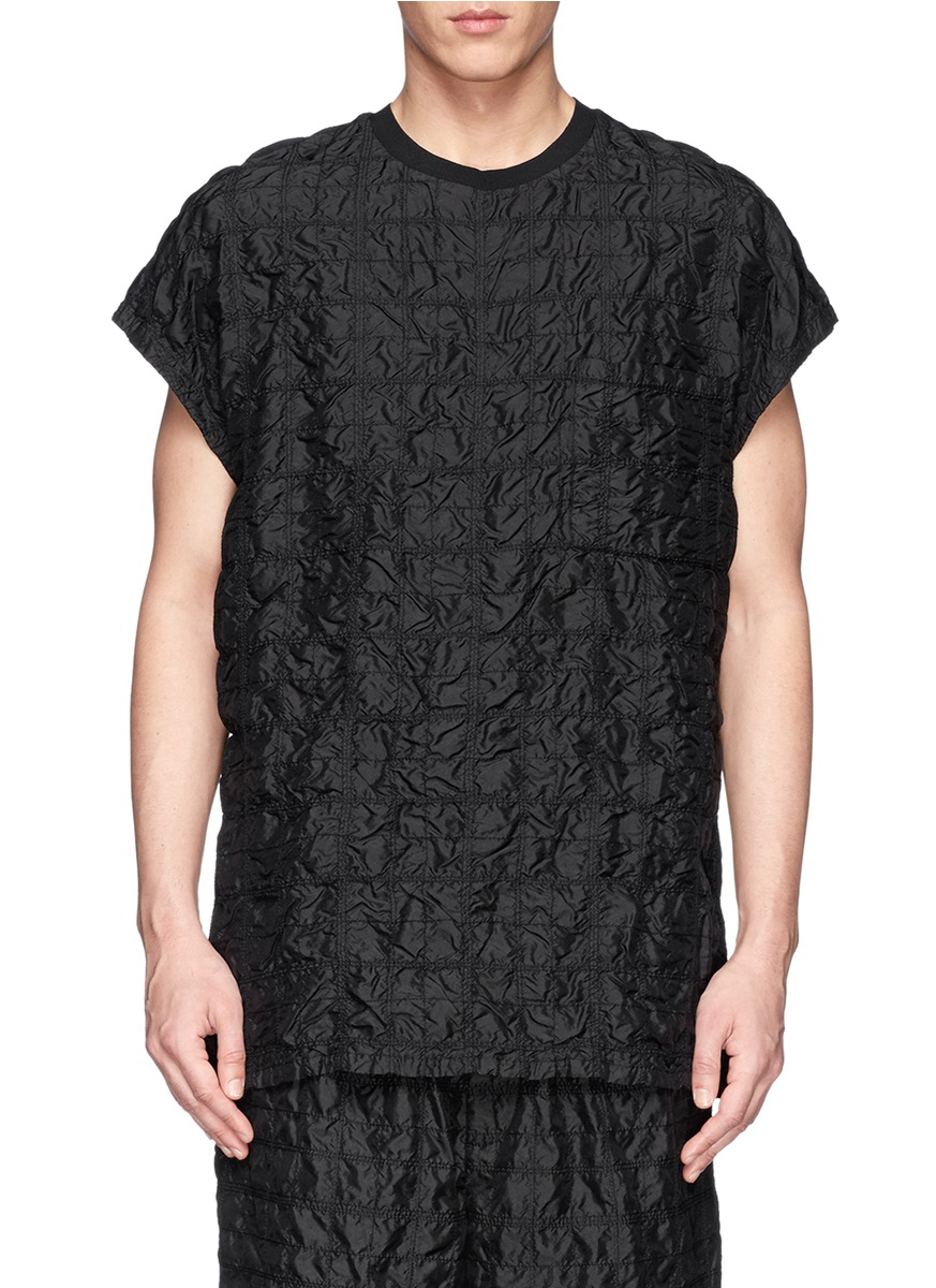 Black quilted t shirt -  Black Quilted Silk T Shirt For Men Lyst View Fullscreen