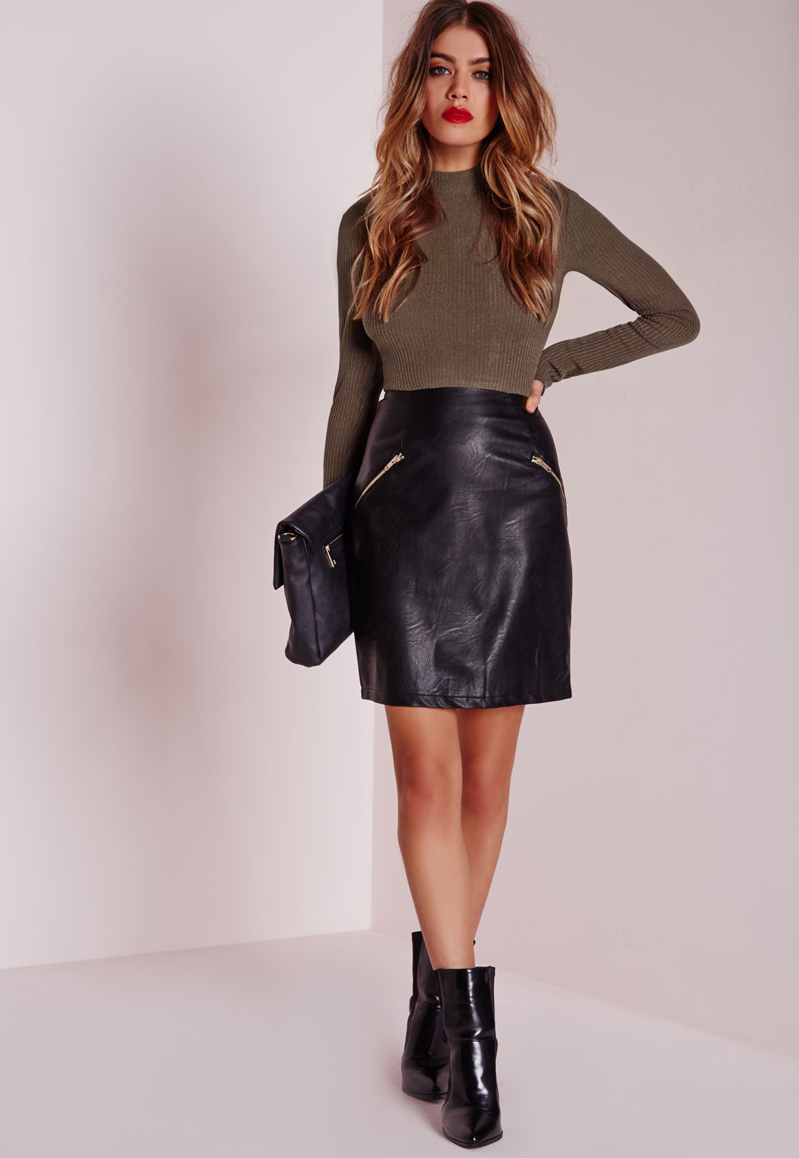 Missguided Contrast Bodycon Rib Dress Faux Leather Skirt Khaki in ...