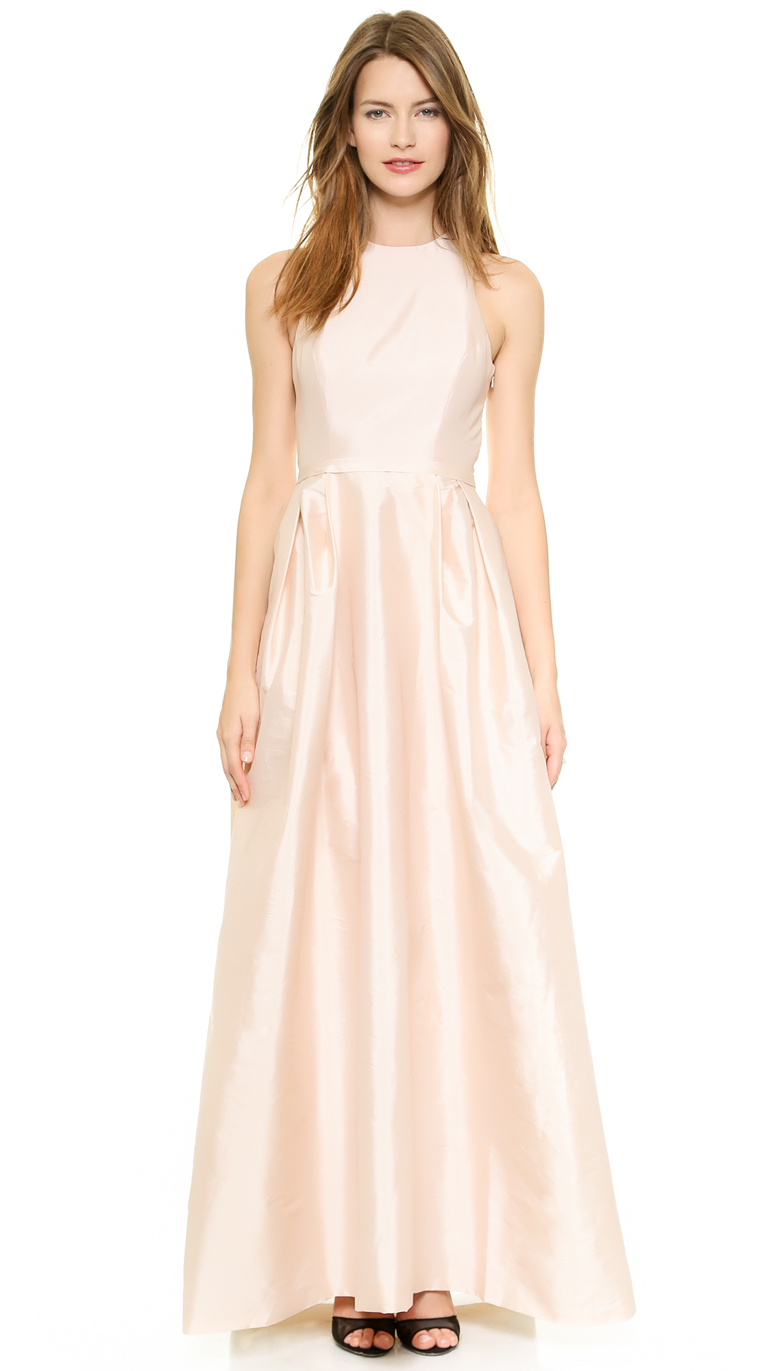 Lyst Monique Lhuillier Bridesmaids Cross Back Gown In Pink