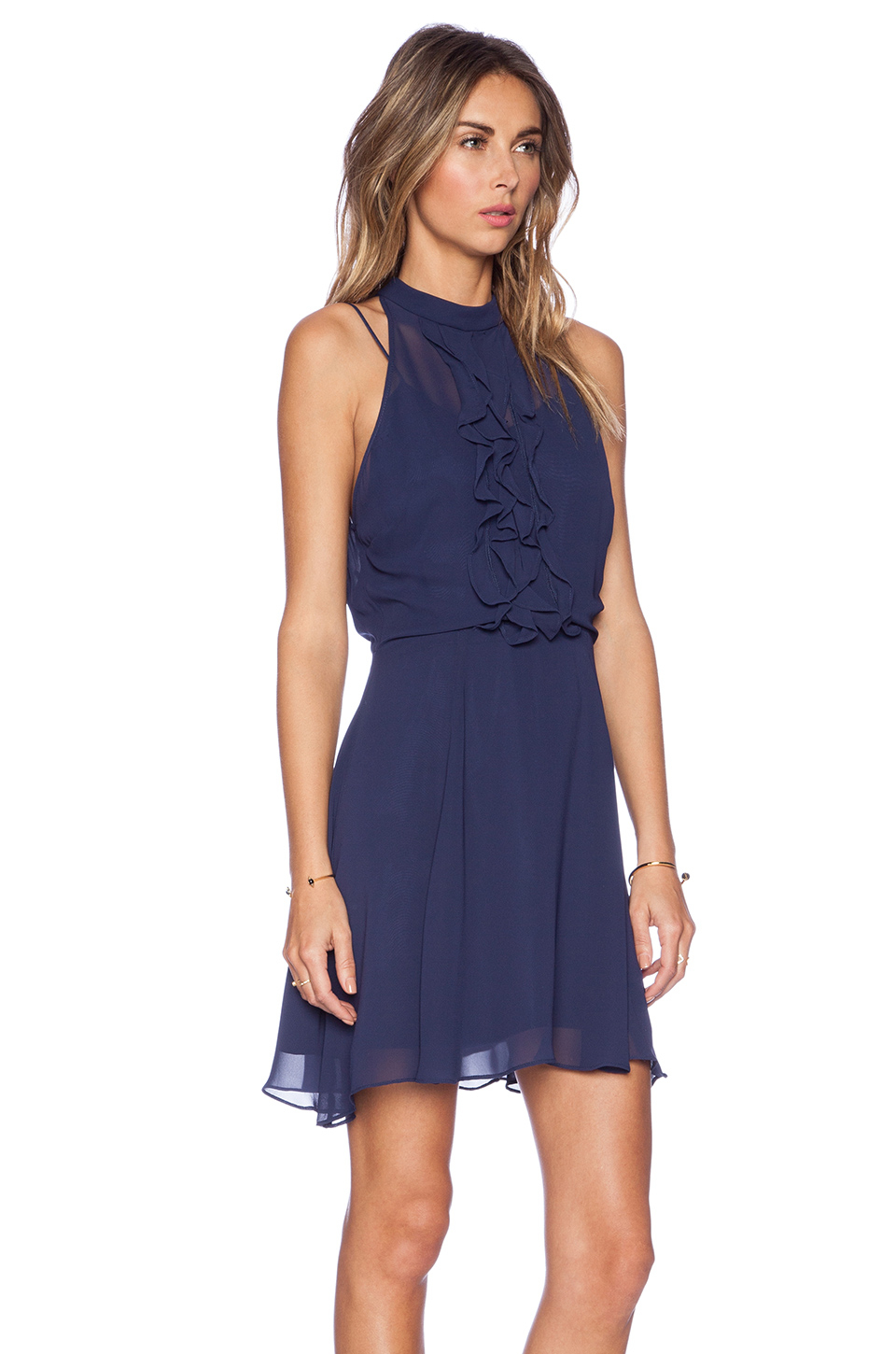 Bcbgeneration Ruffle Front Dress in Blue - Lyst